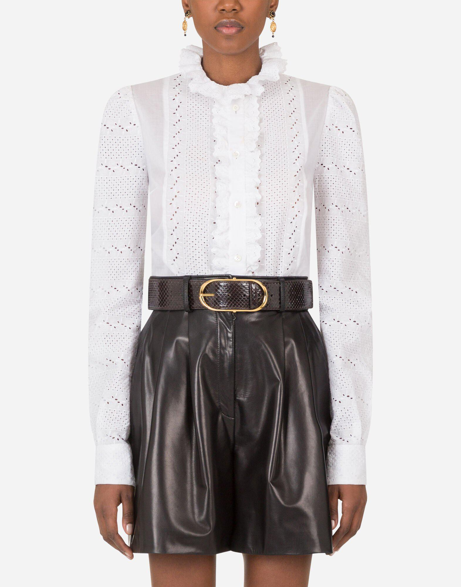 Broderie anglaise shirt with ruche details