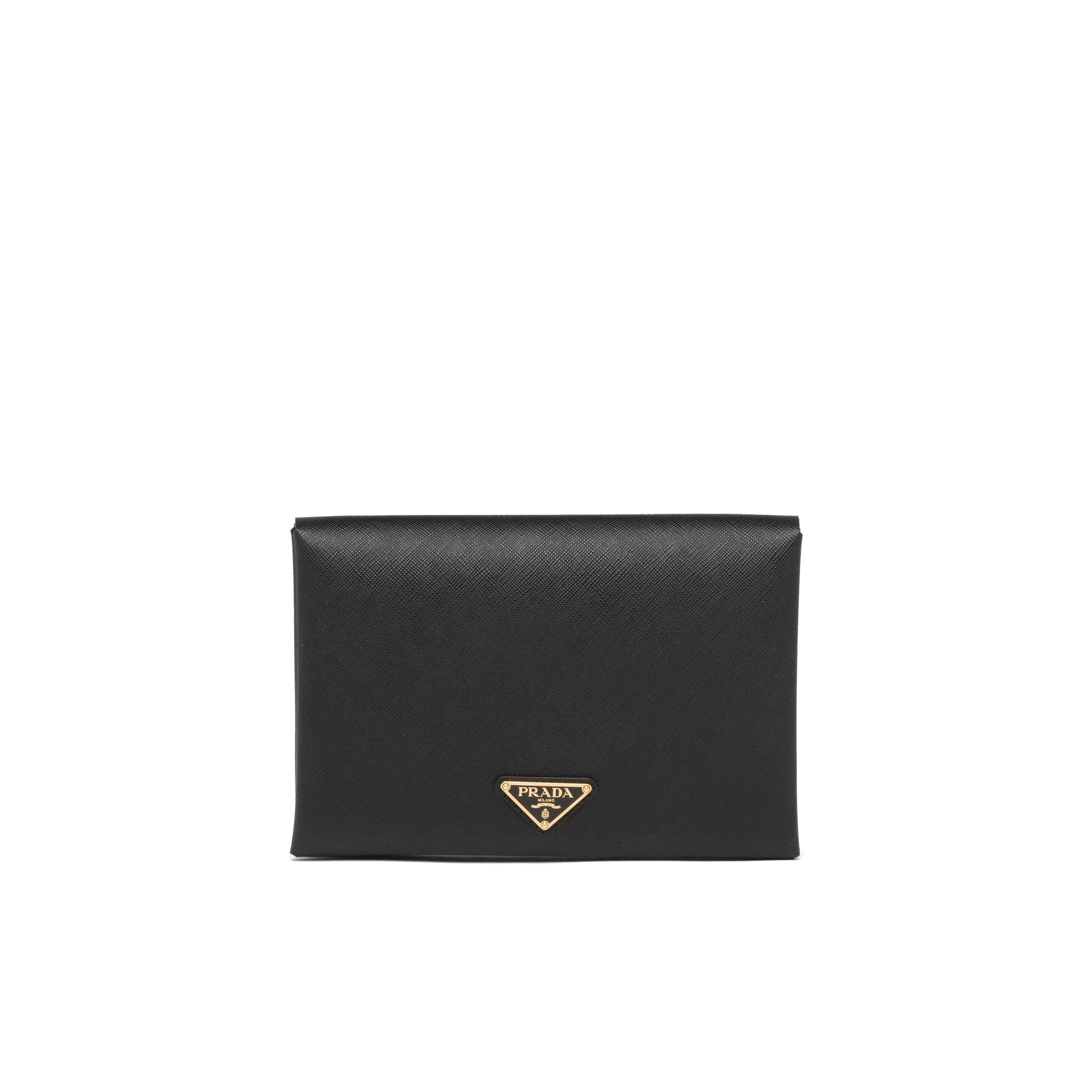 Small Saffiano Leather Document Holder Women Black/fiery Red