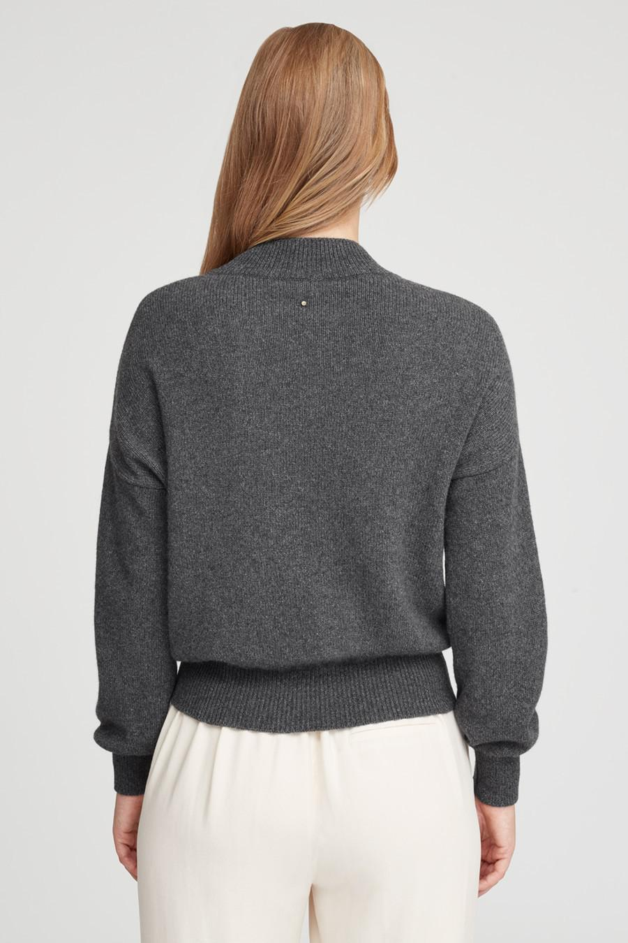 Women's Recycled Mock Neck Sweater in Charcoal | Size: 2