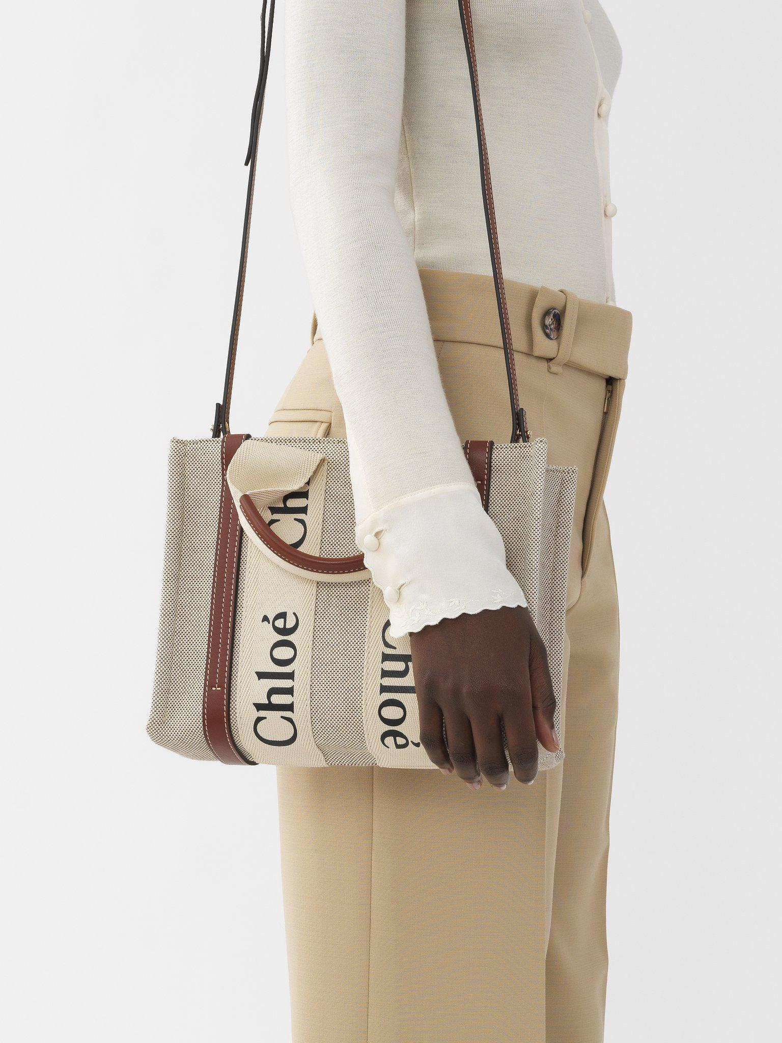SMALL WOODY TOTE BAG WITH STRAP