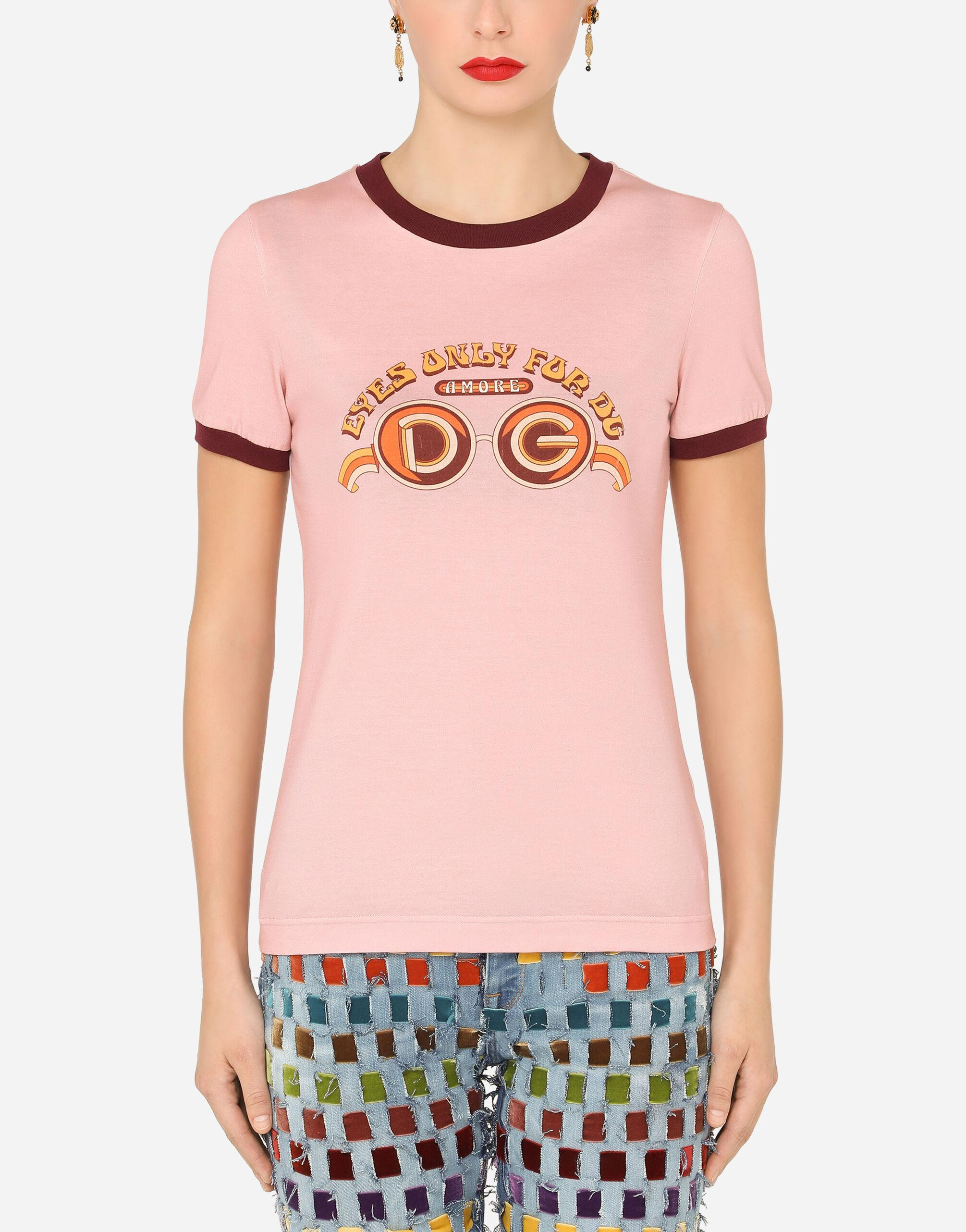 Short-sleeved jersey t-shirt with eyes only for DG print