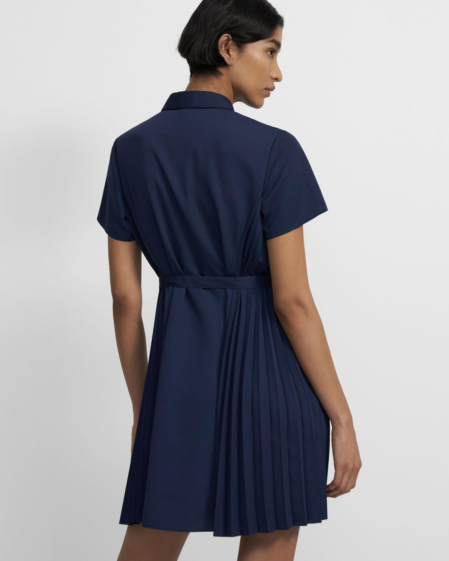 Pleated Short-Sleeve Shirtdress in Satin Crepe 2