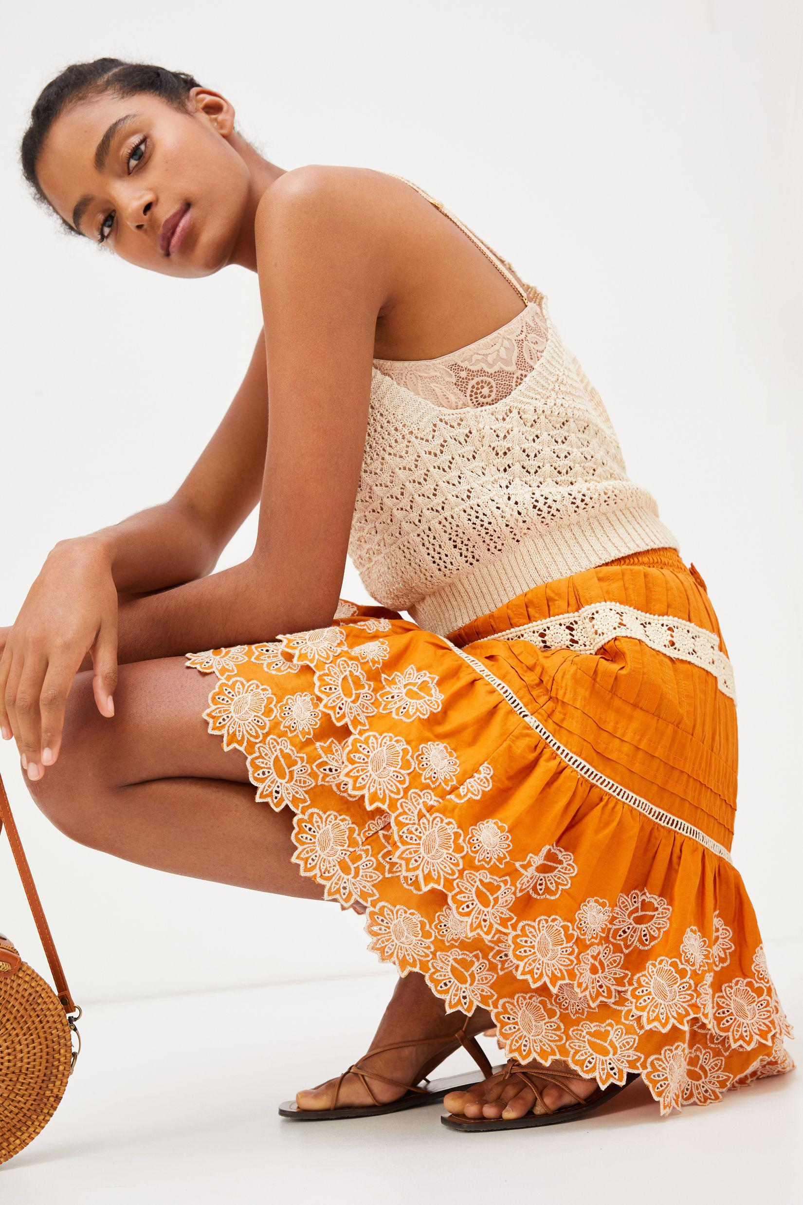 Embroidered Lace Mini Skirt