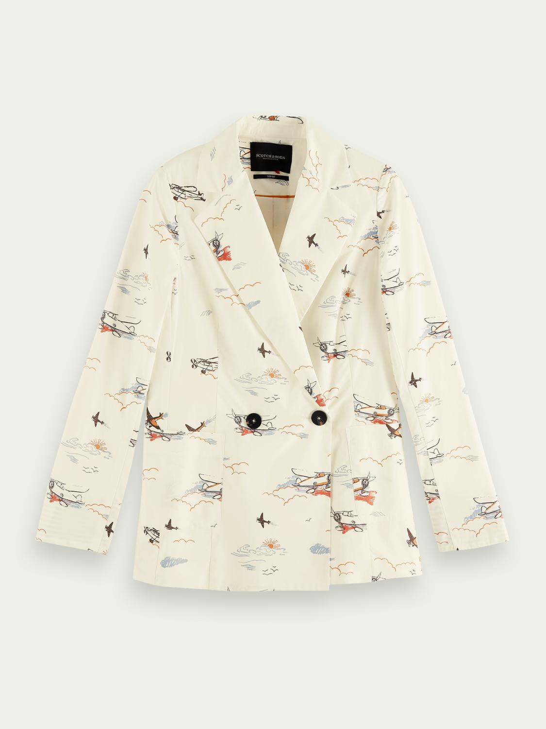 Printed double-breasted organic cotton blazer 3