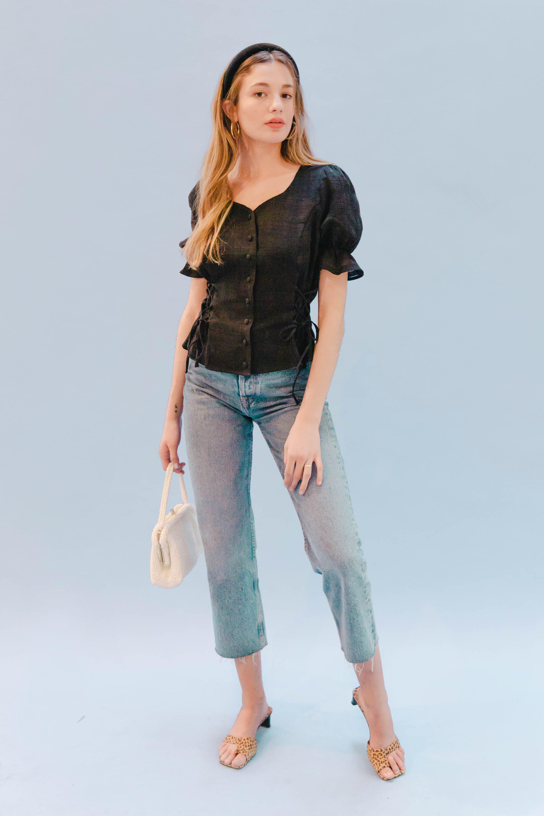 THE DOUBLE LACEUP TOP ~ BLACK (FINAL SALE)