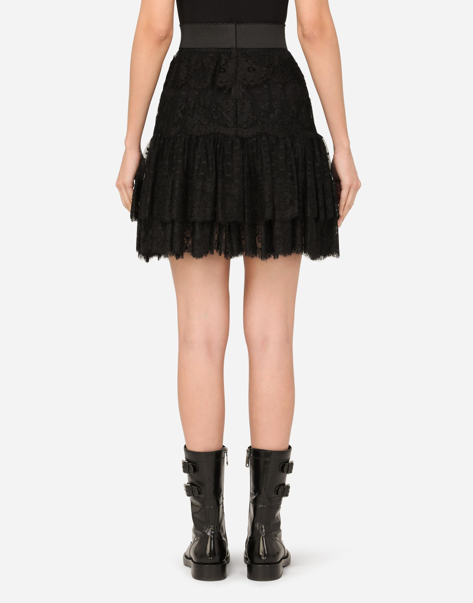 Ruffled tulle and lace midi skirt 1