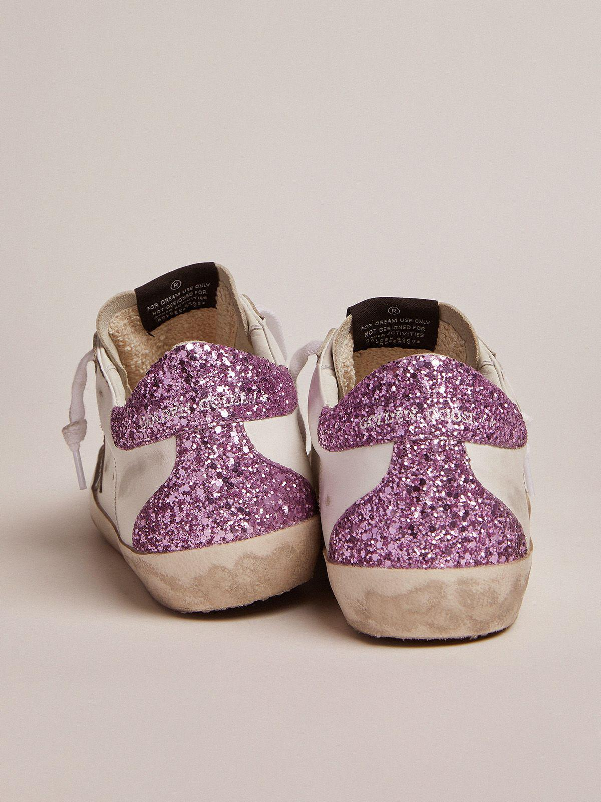 Super-Star sneakers with lavender glitter heel tab and light-blue metallic leather star 3