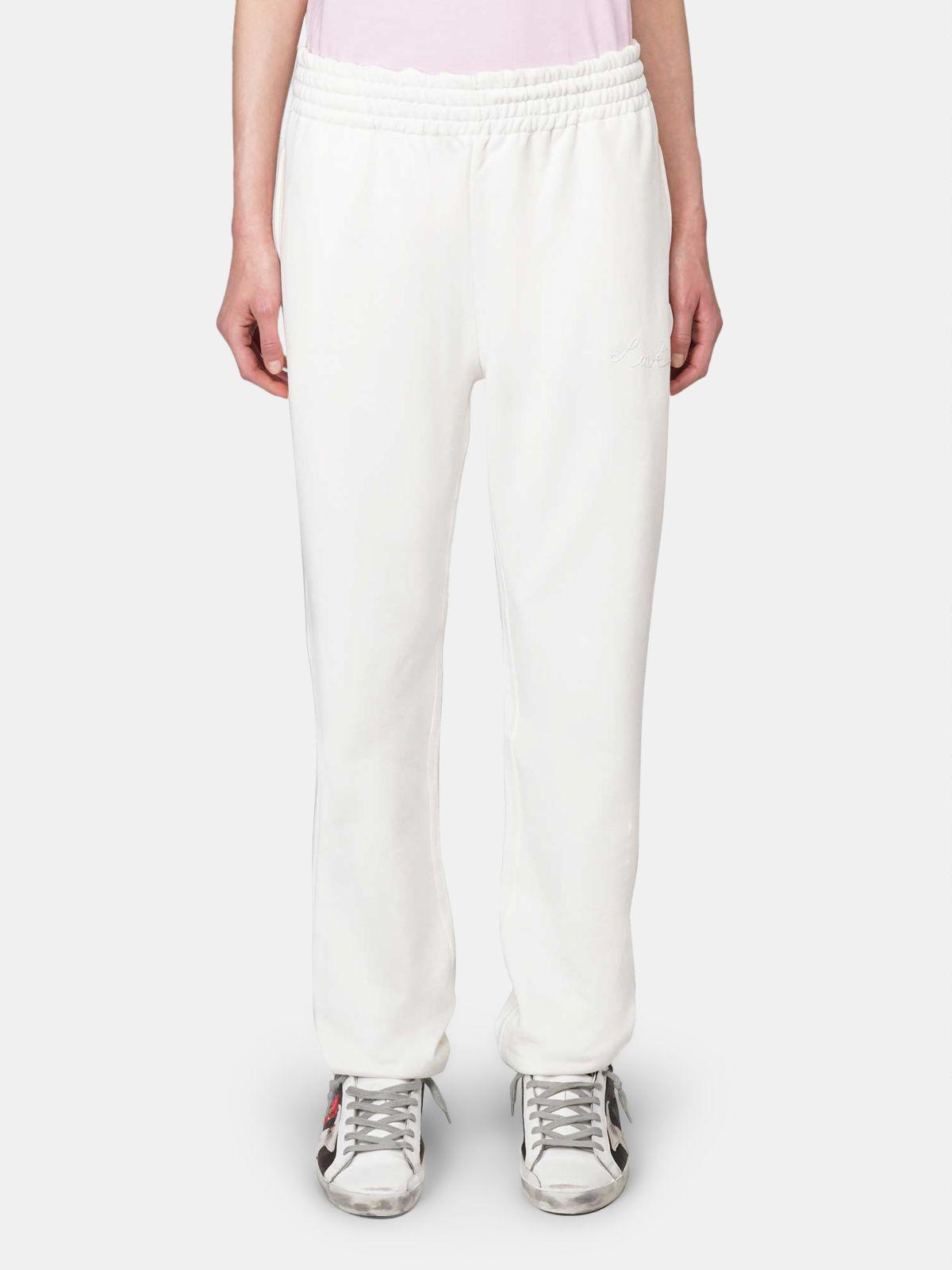 White Hamm joggers with Love embroidery