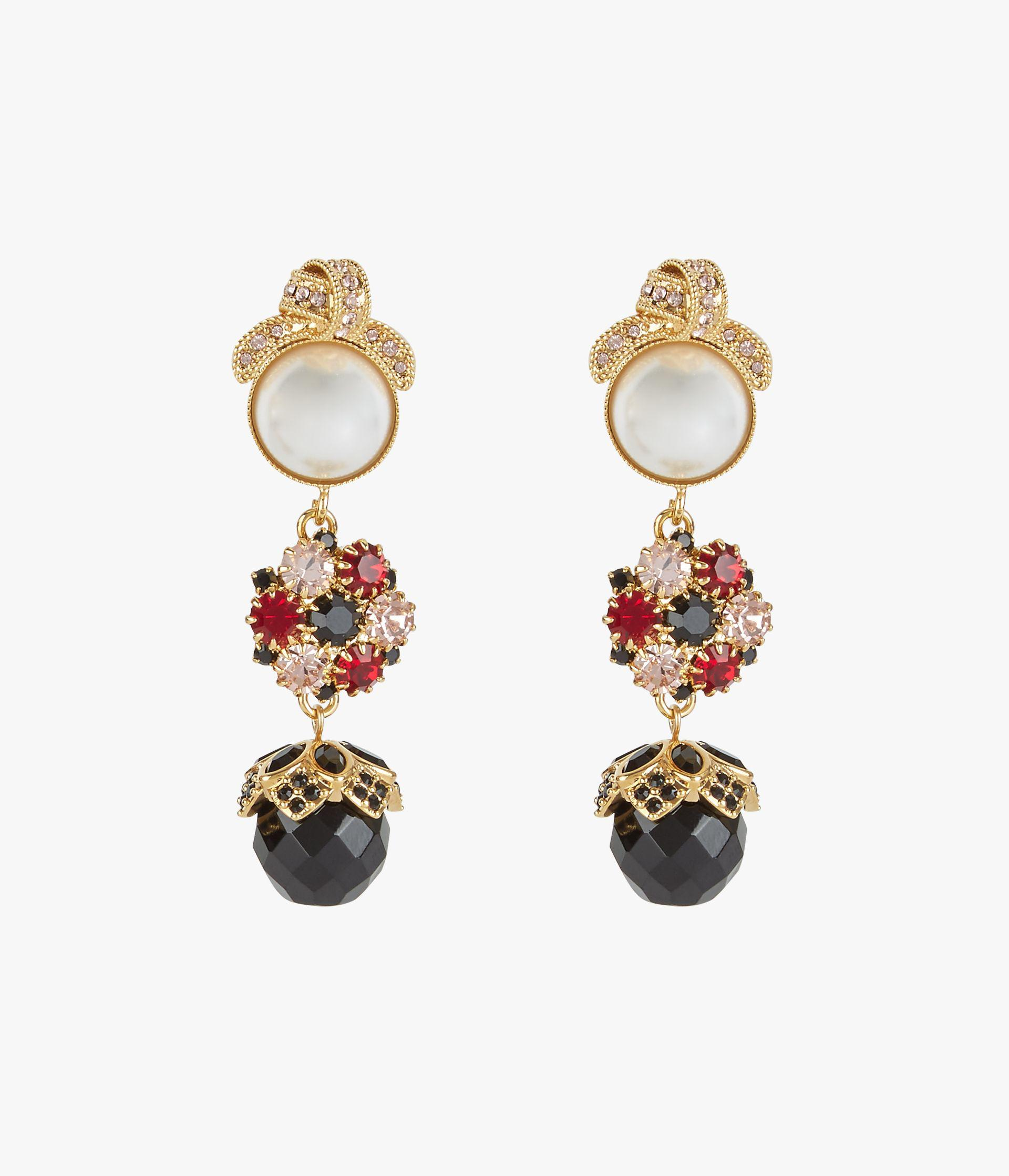 Red Crystal Knot Drop Clip Earrings