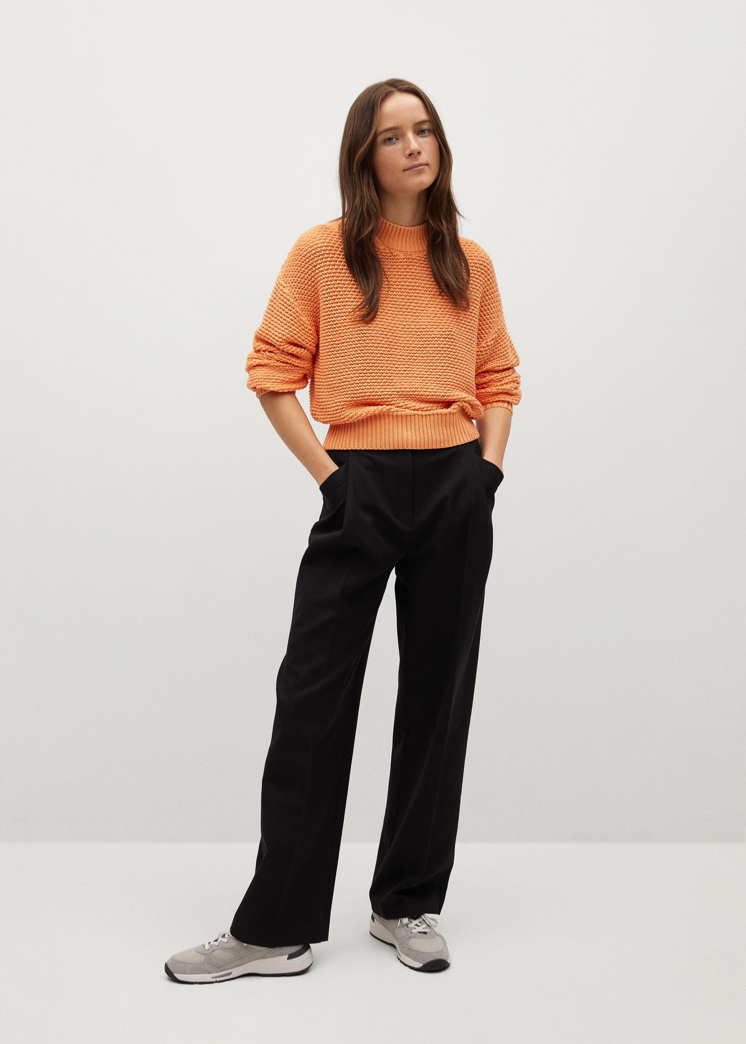 Embossed contrasting knit sweater 1