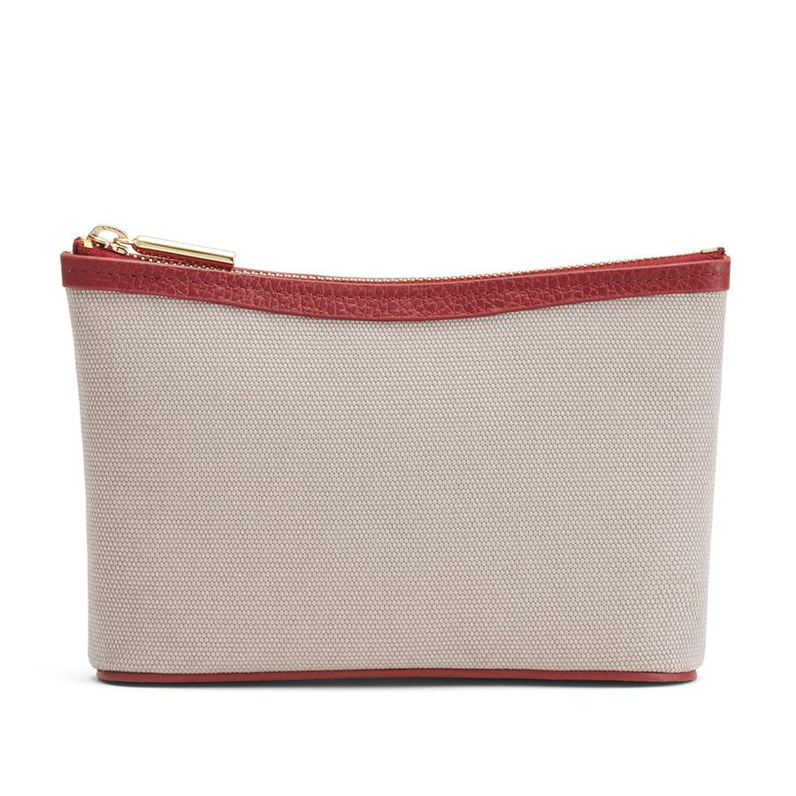 Women's Mini Canvas Zipper Pouch in Soft Grey/Ruby | Canvas & Smooth Leather by Cuyana