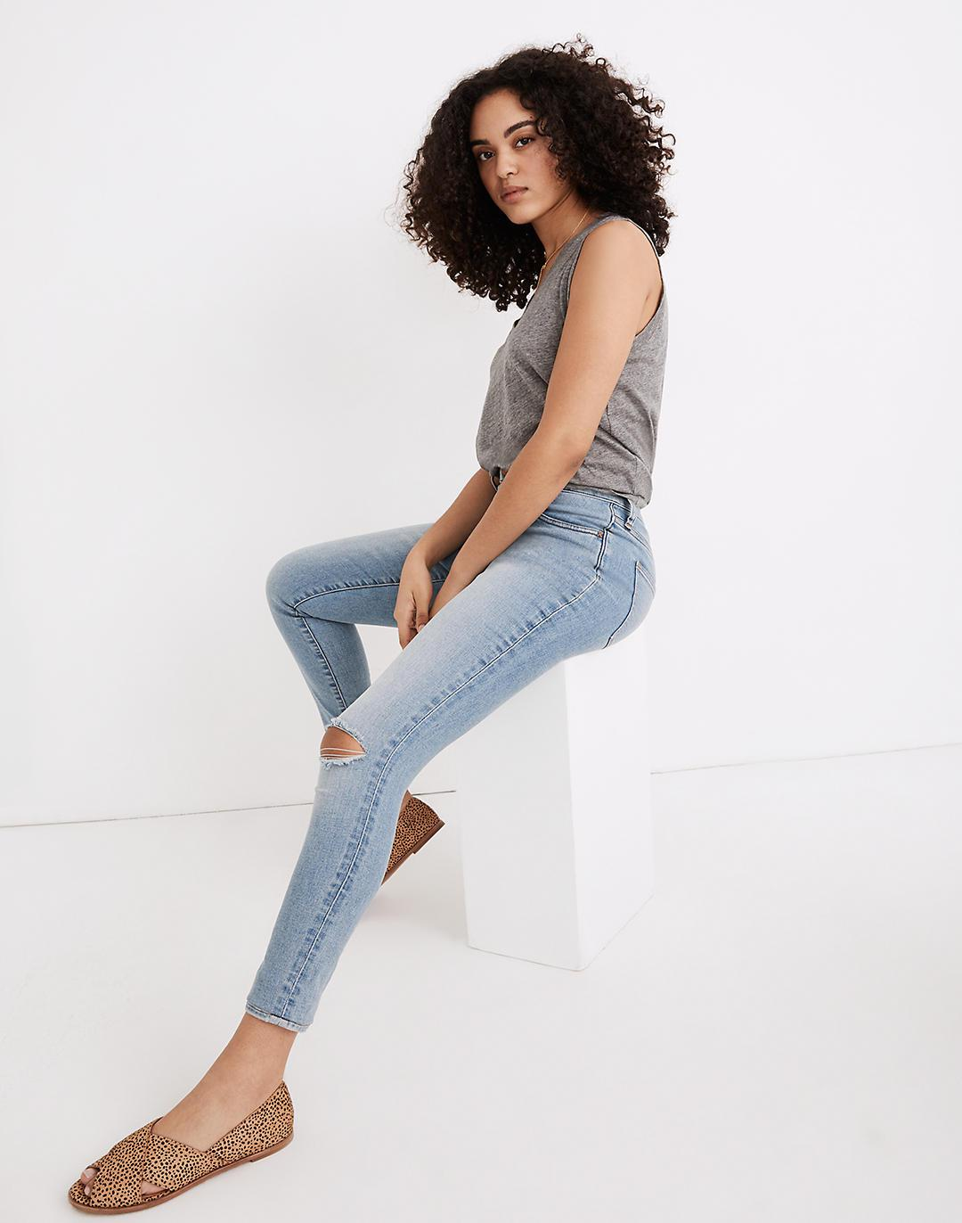 Curvy Roadtripper Authentic Jeans in Benton Wash: Knee-Rip Edition 1