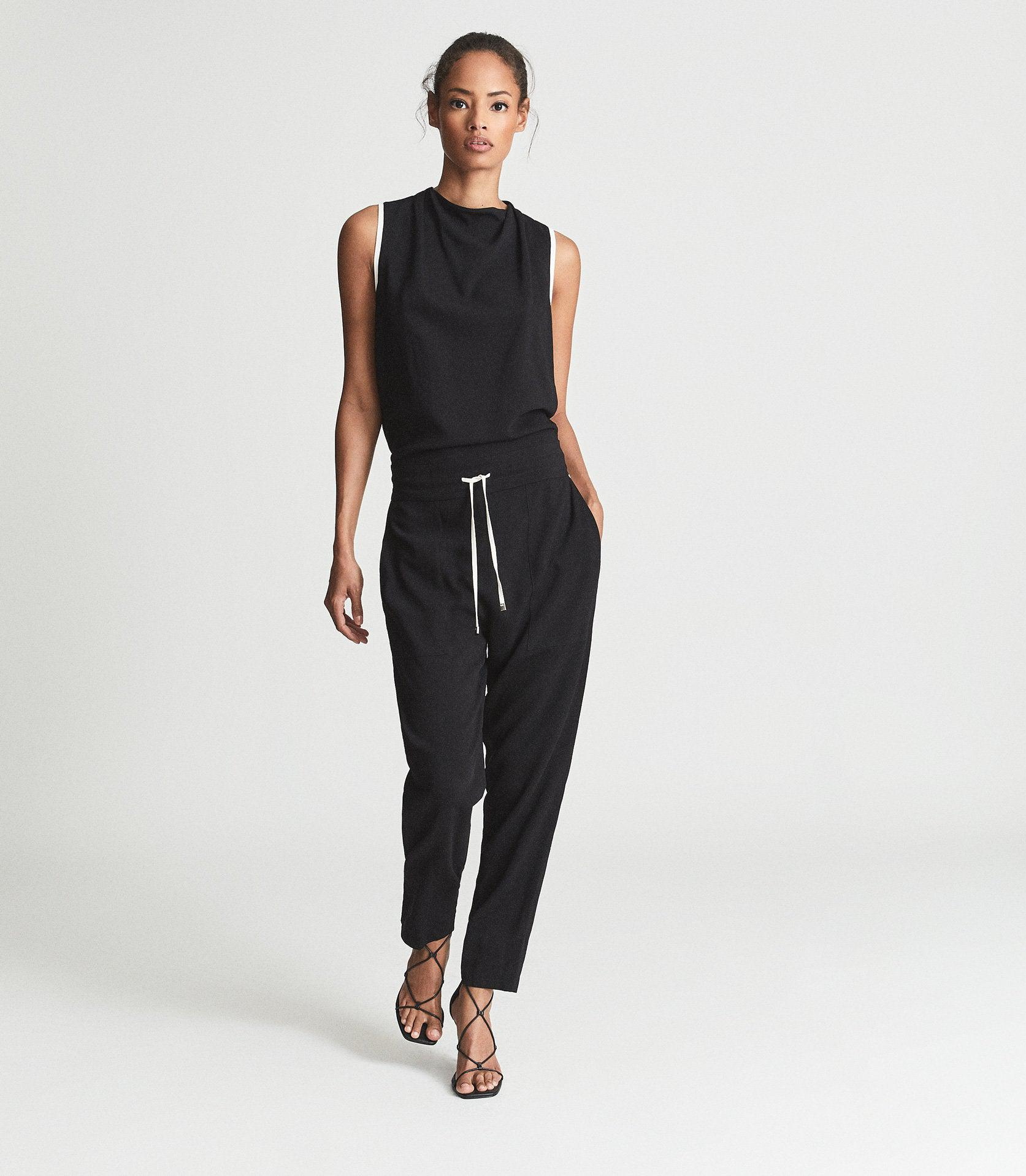 CLAUDIA - SLEEVELESS JUMPSUIT WITH CONTRAST TIPPING