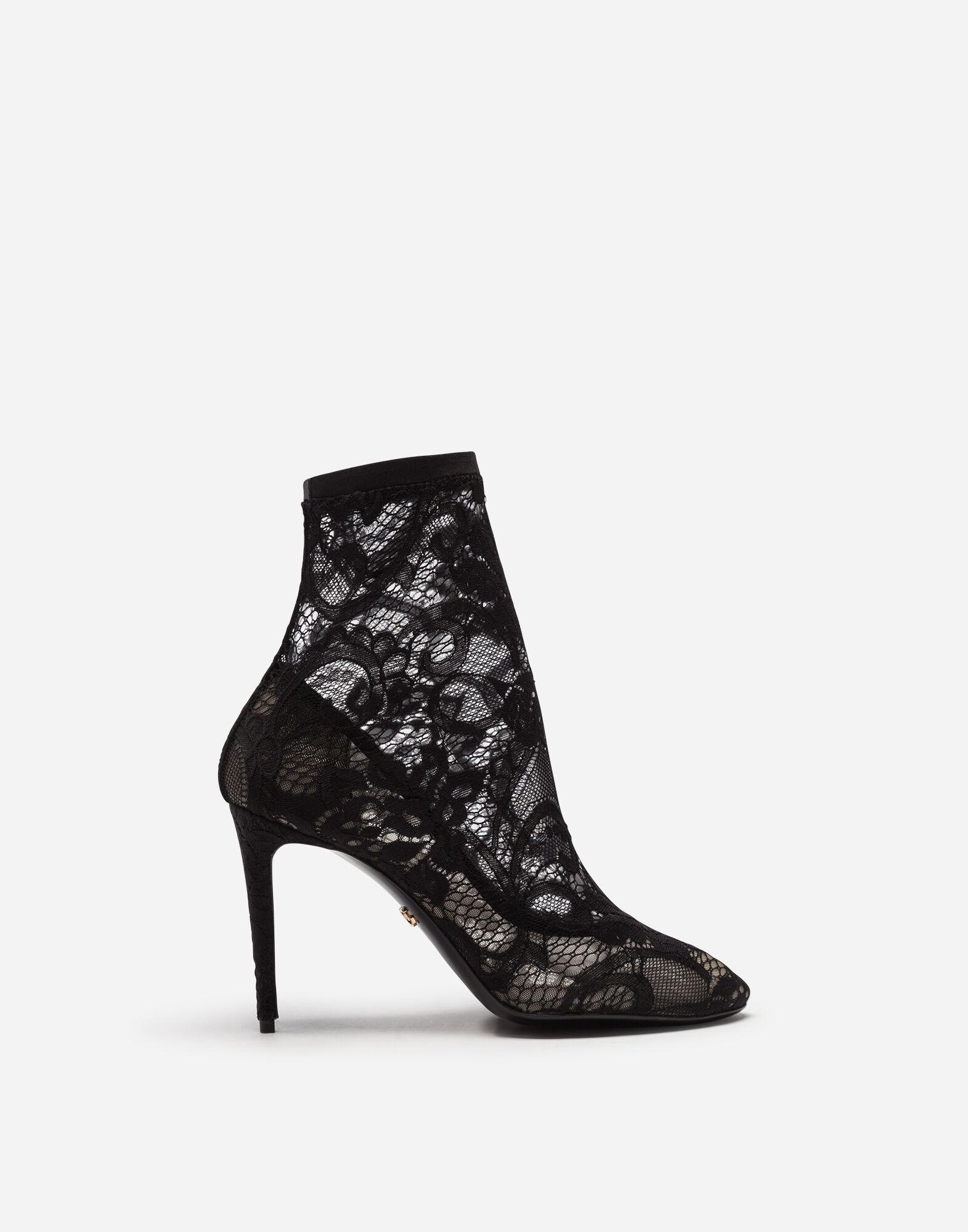 Stretch lace and gros grain Bette booties