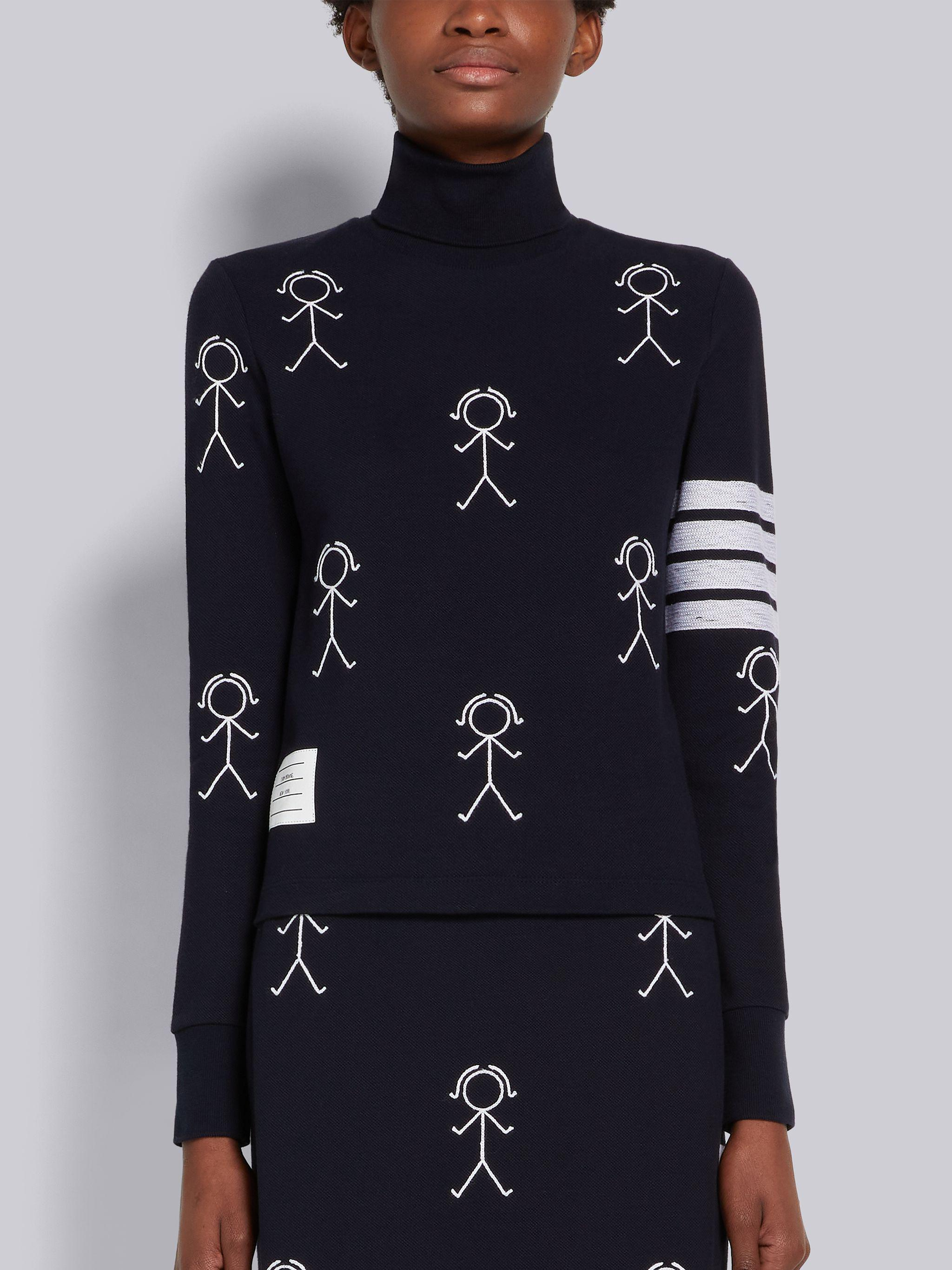 Navy Classic Pique Chain Stitch 4-Bar & Mrs. Thom Embroidery Turtleneck