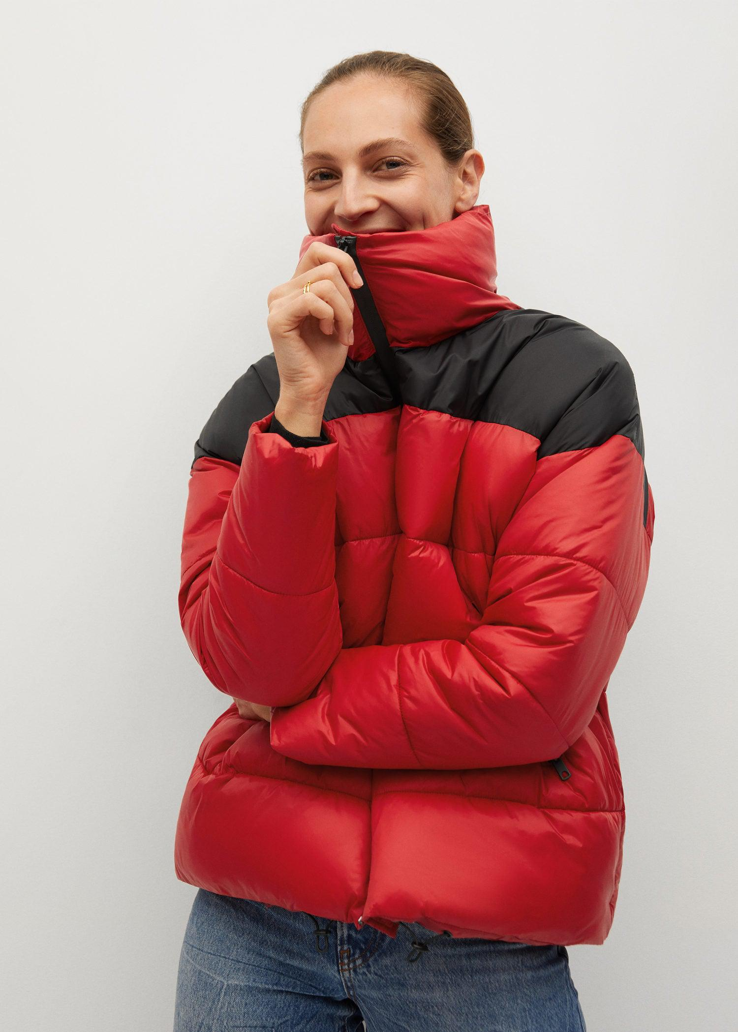 Bicolor quilted anorak