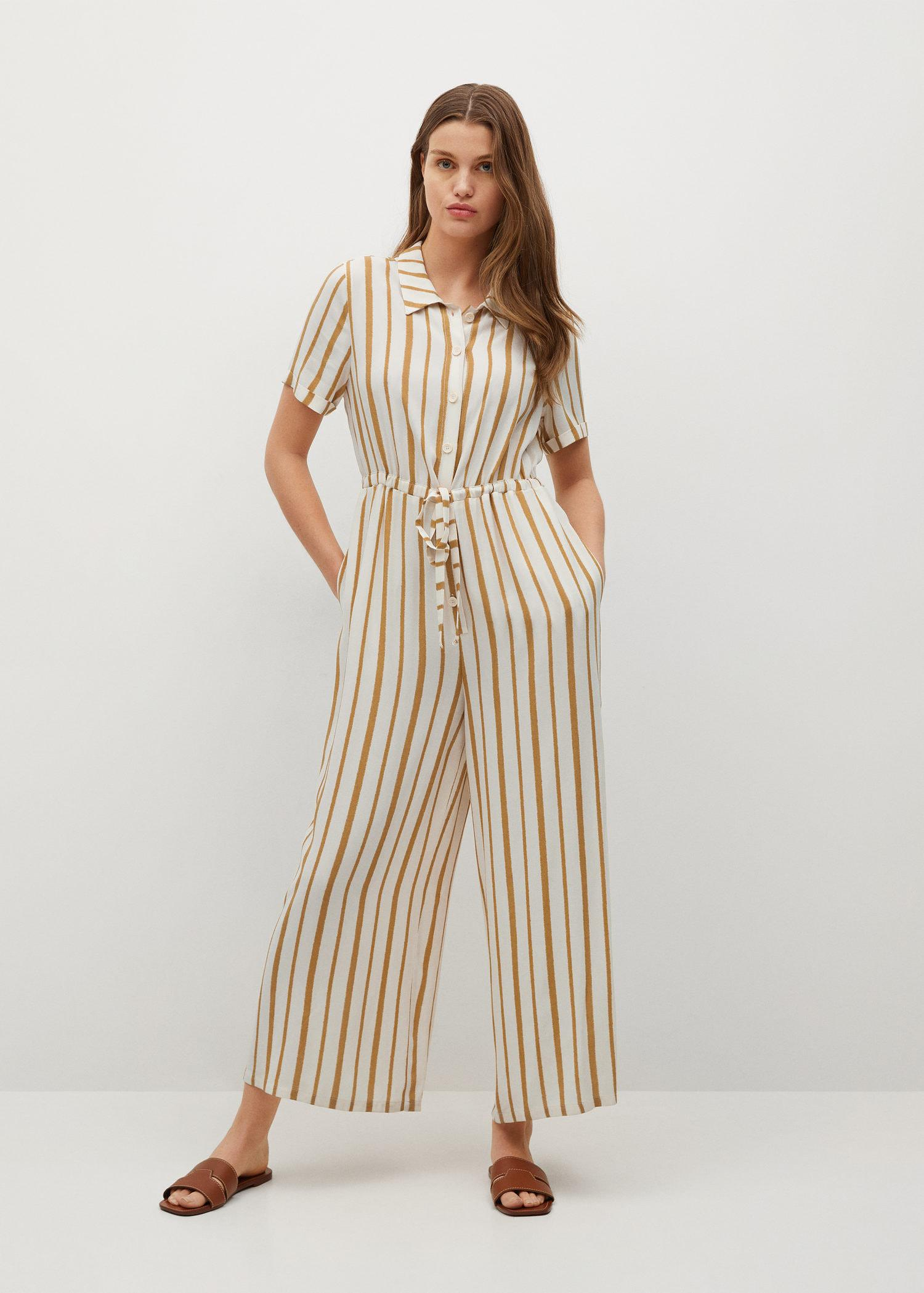 Striped jumpsuit with belt 1