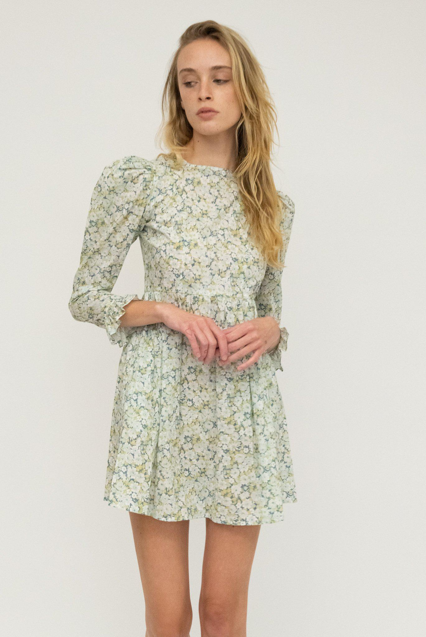 Minidress in Blue and Green Floral