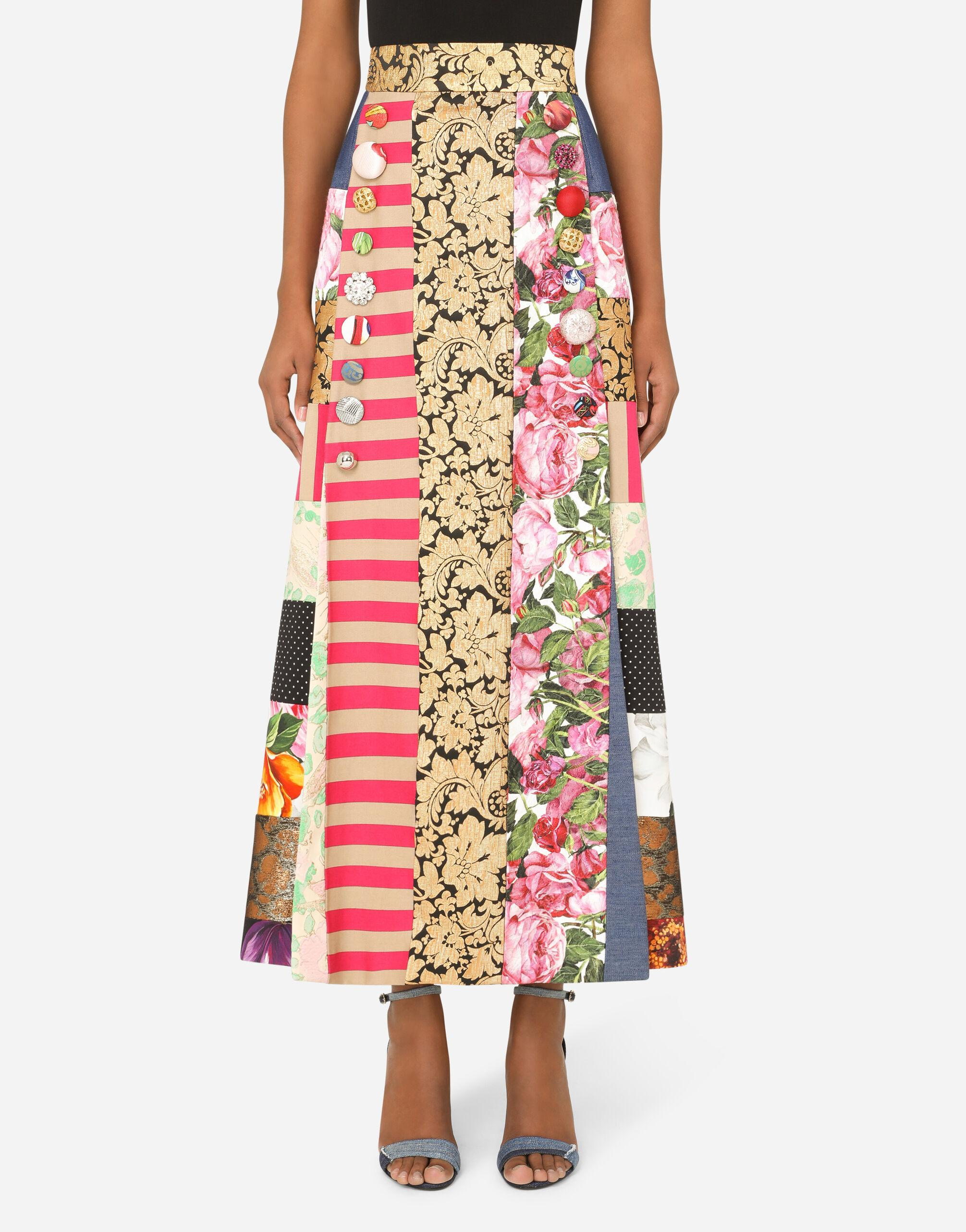 Long patchwork jacquard skirt with bejeweled buttons