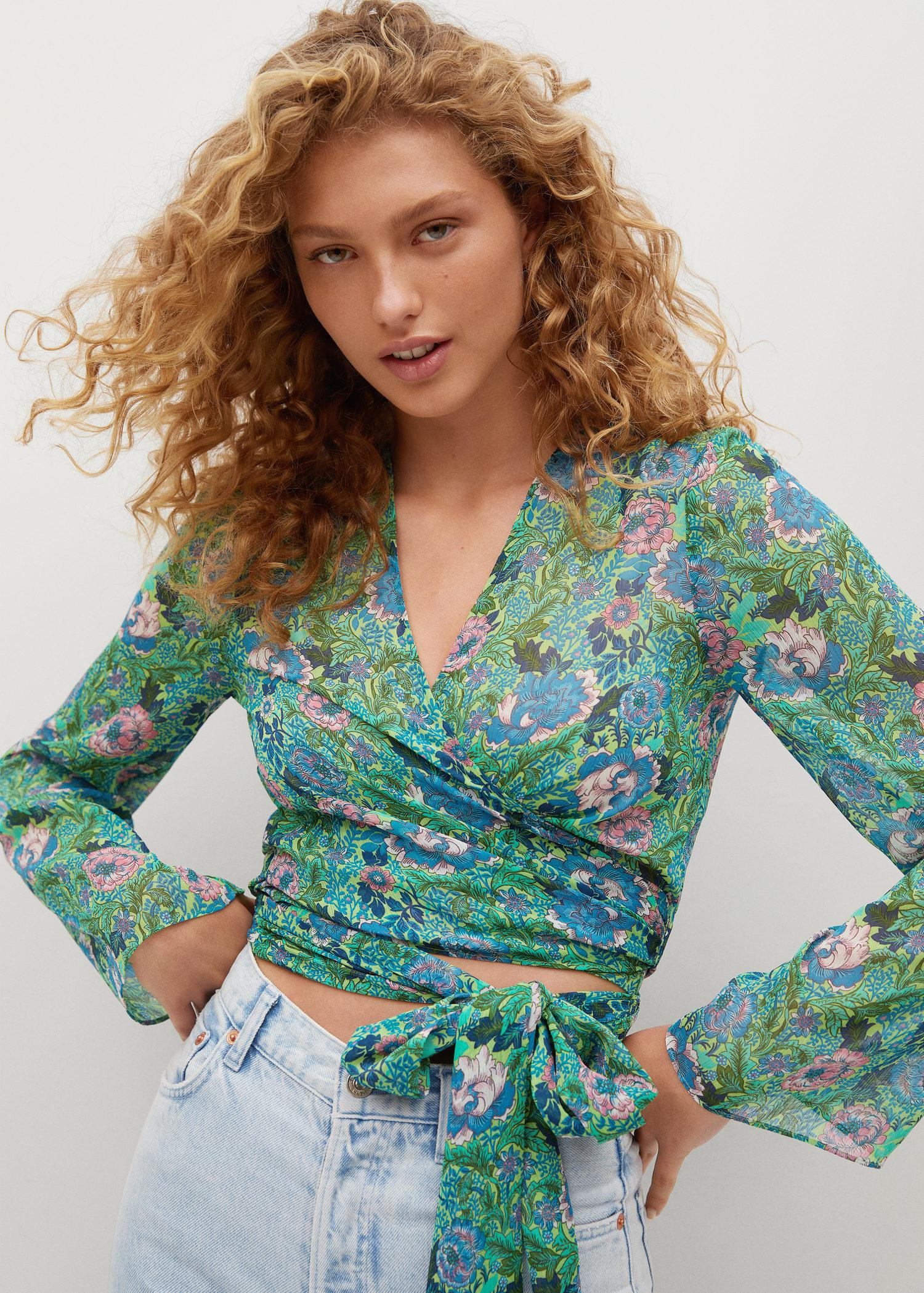 Knot detail printed blouse