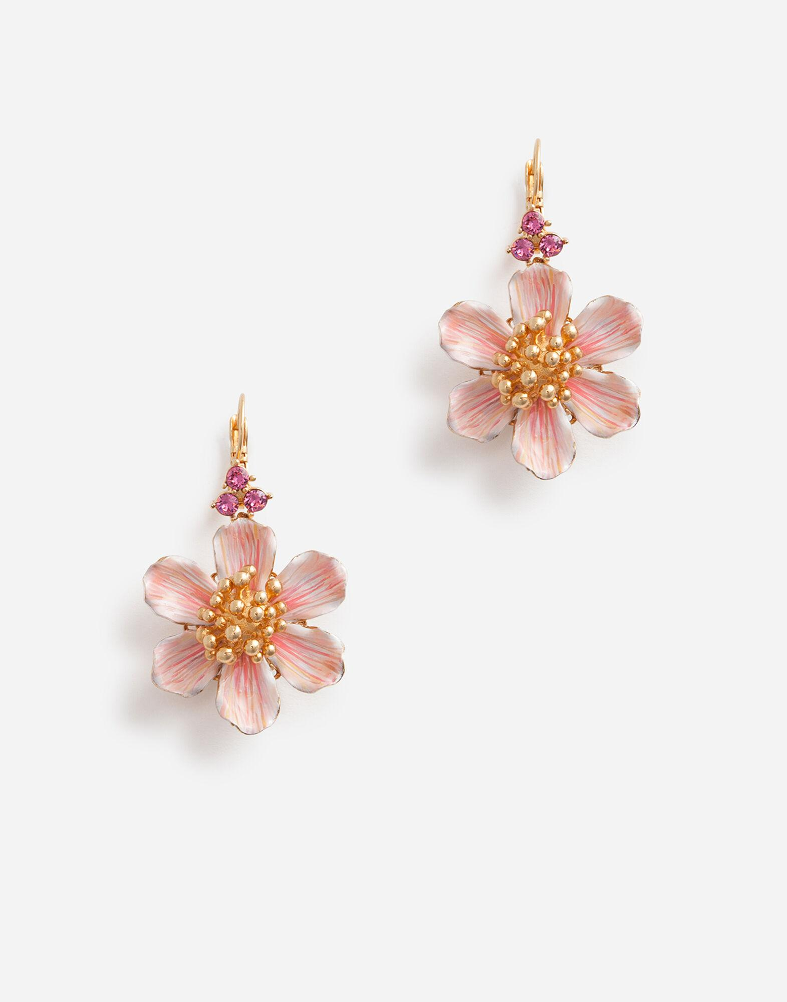 Leverback earrings with hand-painted flower