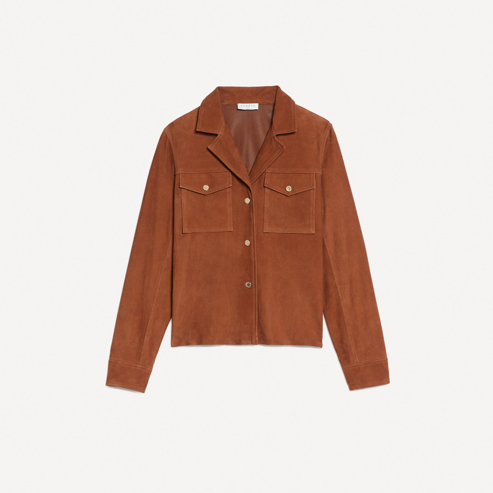 Suede jacket with gold-tone press studs