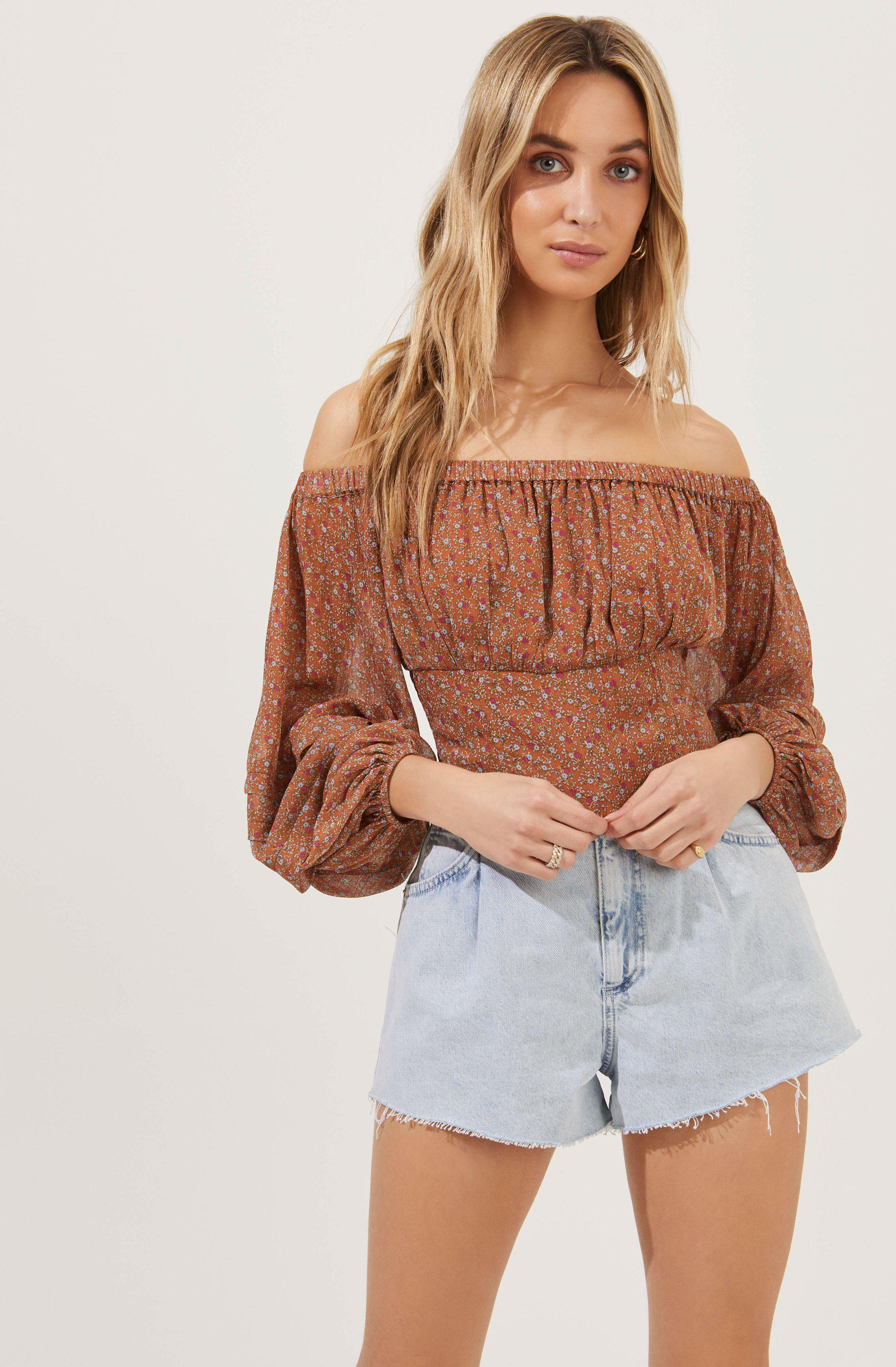 Off The Shoulder Cropped Volume Sleeve Top