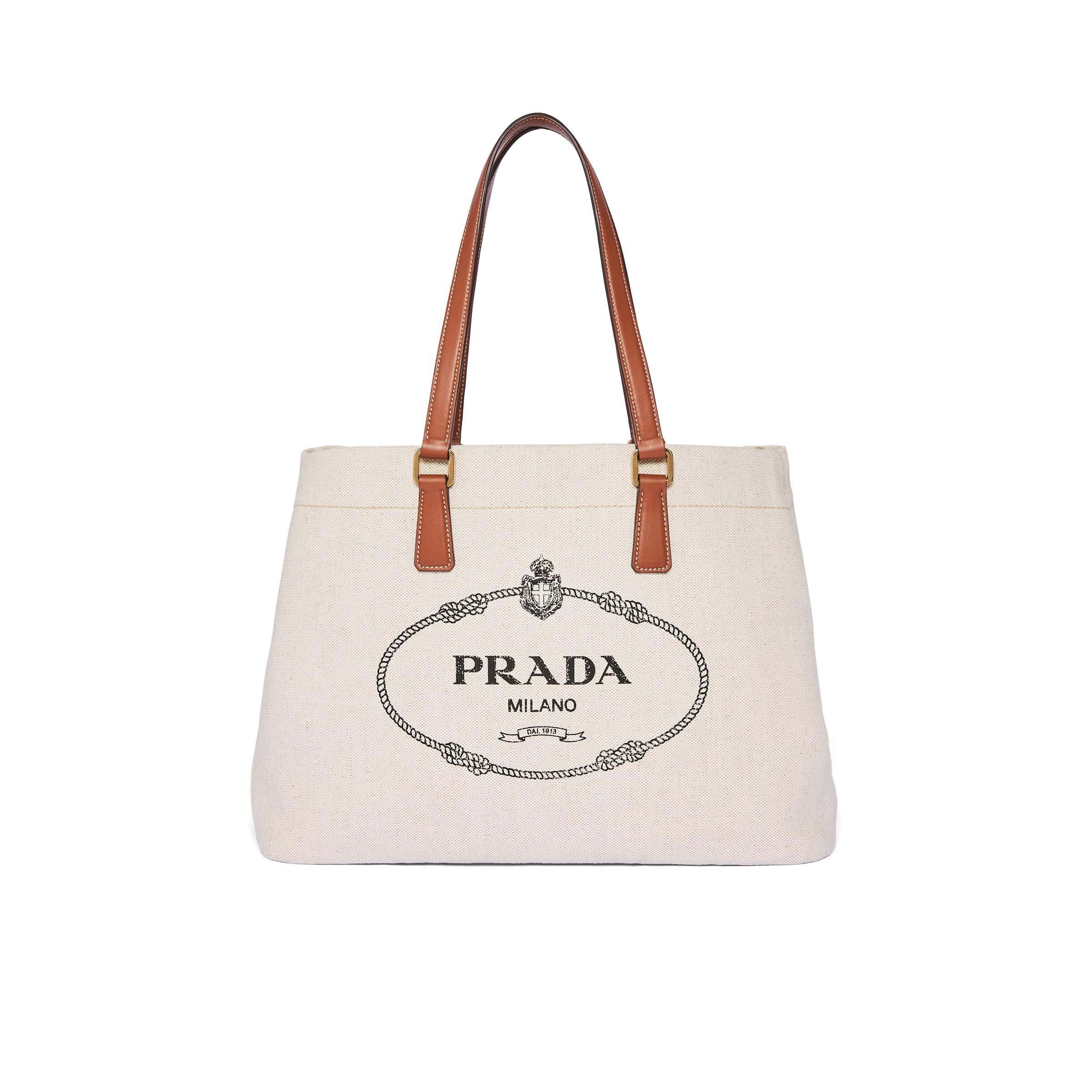 Linen Blend And Leather Tote Women Beige/cognac