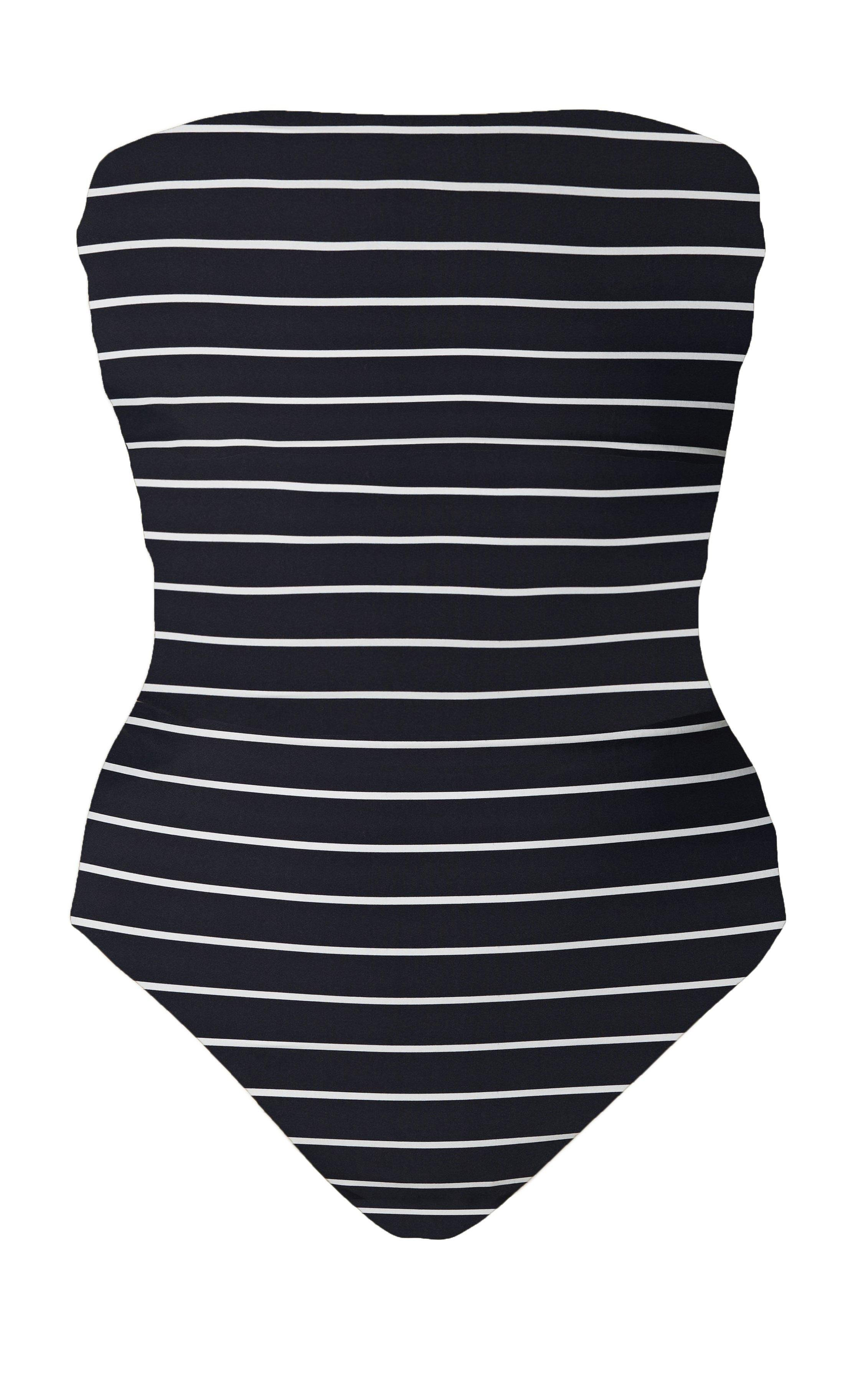 The Ritts Strapless One Piece in Wide Stripe Print