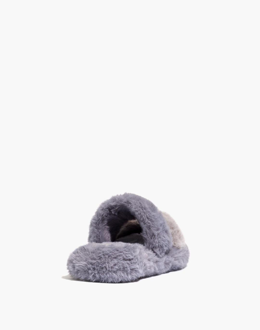 Two-Strap Scuff Slippers in Recycled Faux Fur 2