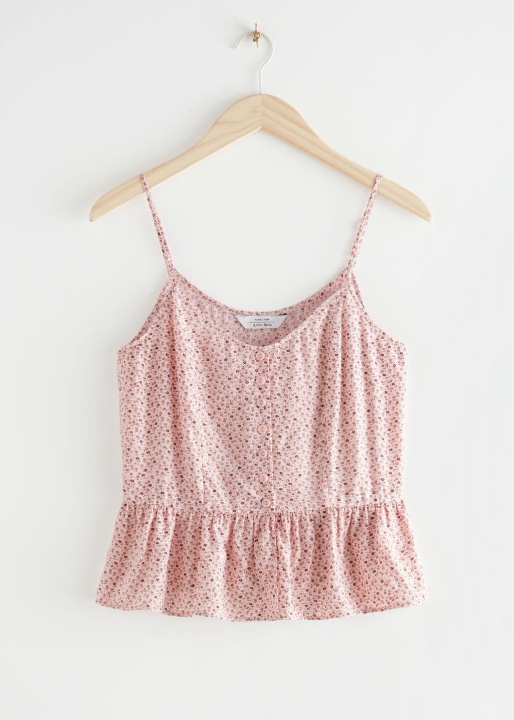 Buttoned Jacquard Strap Top