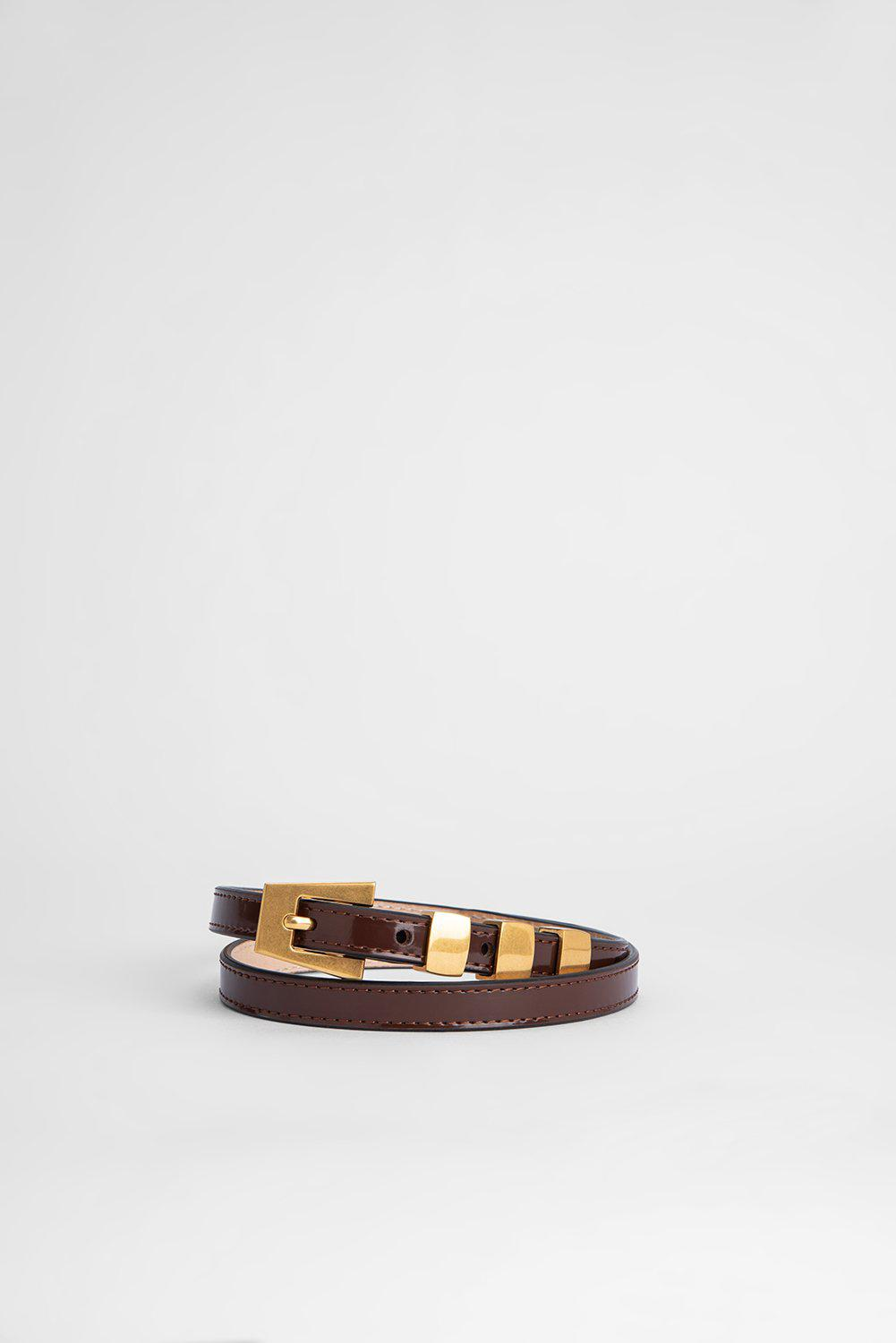 Vic Brown Semi Patent Leather