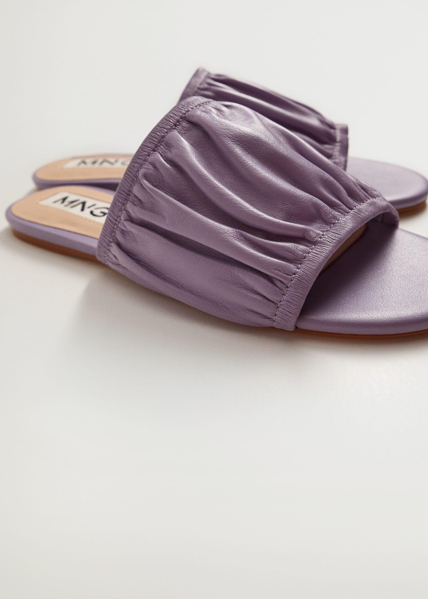 Ruched leather sandals 2