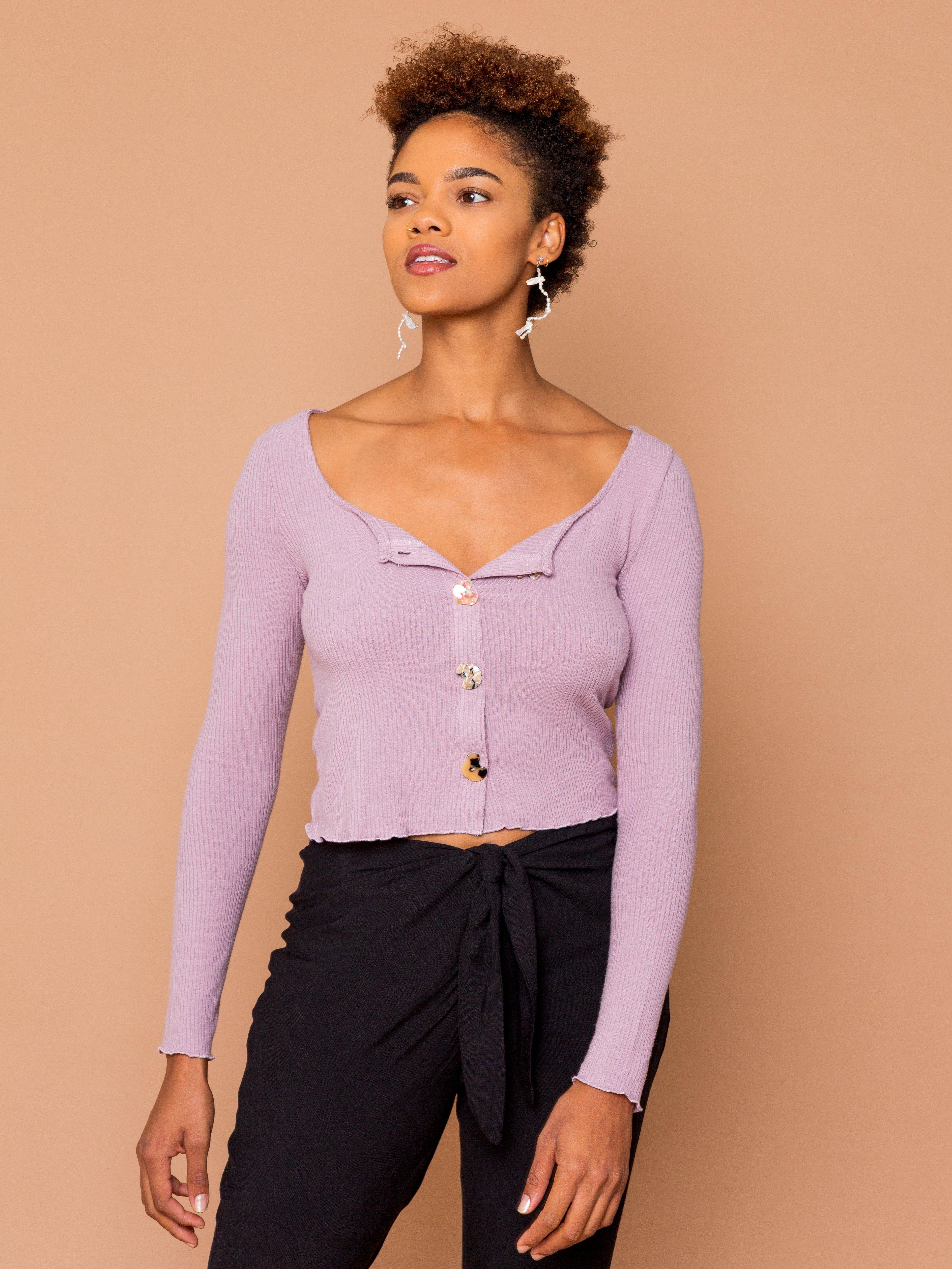 THE BUTTON PARTY CARDI - Orchid