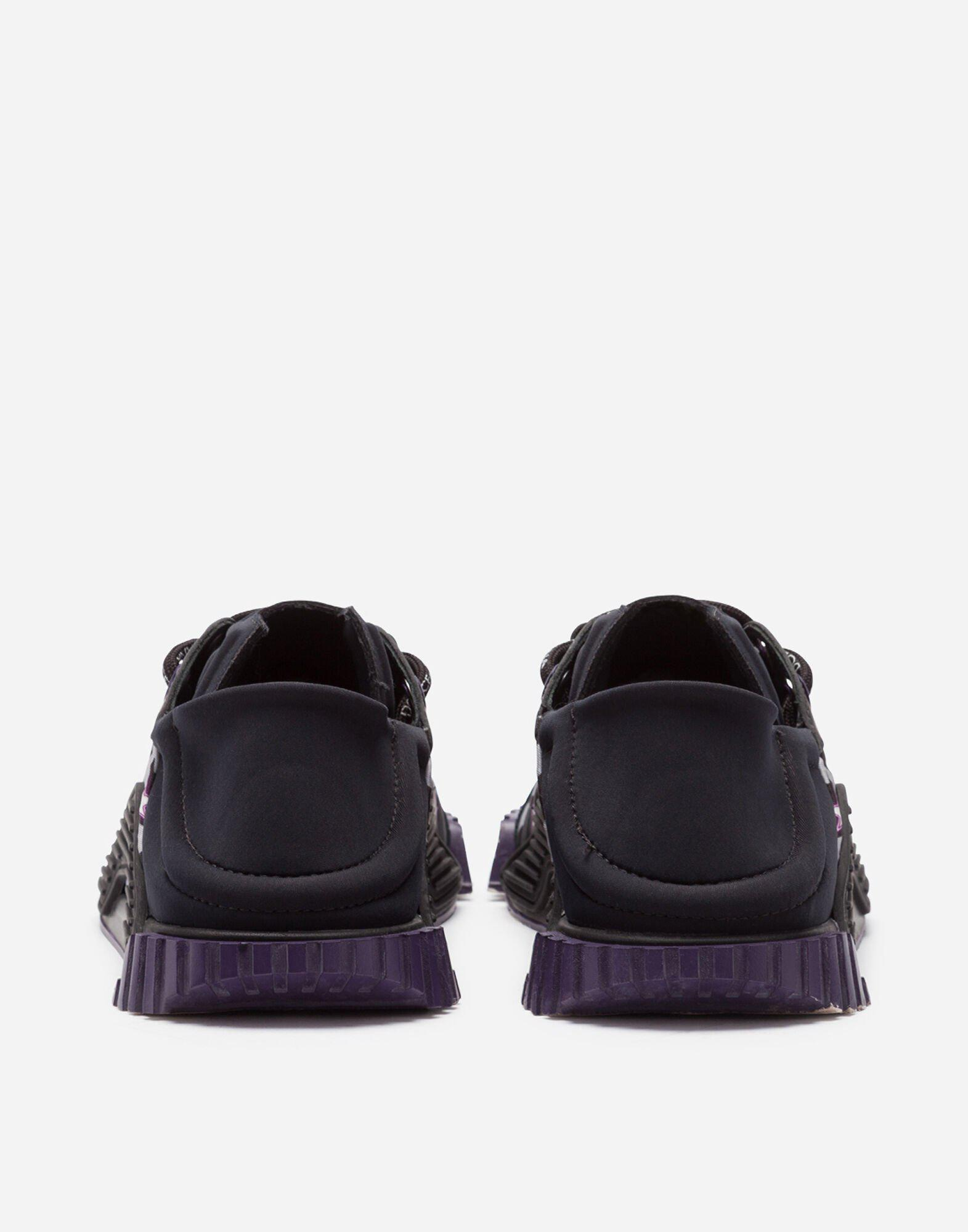 Slip-on NS1 sneakers in mixed materials with jungle print and purple bottom 2
