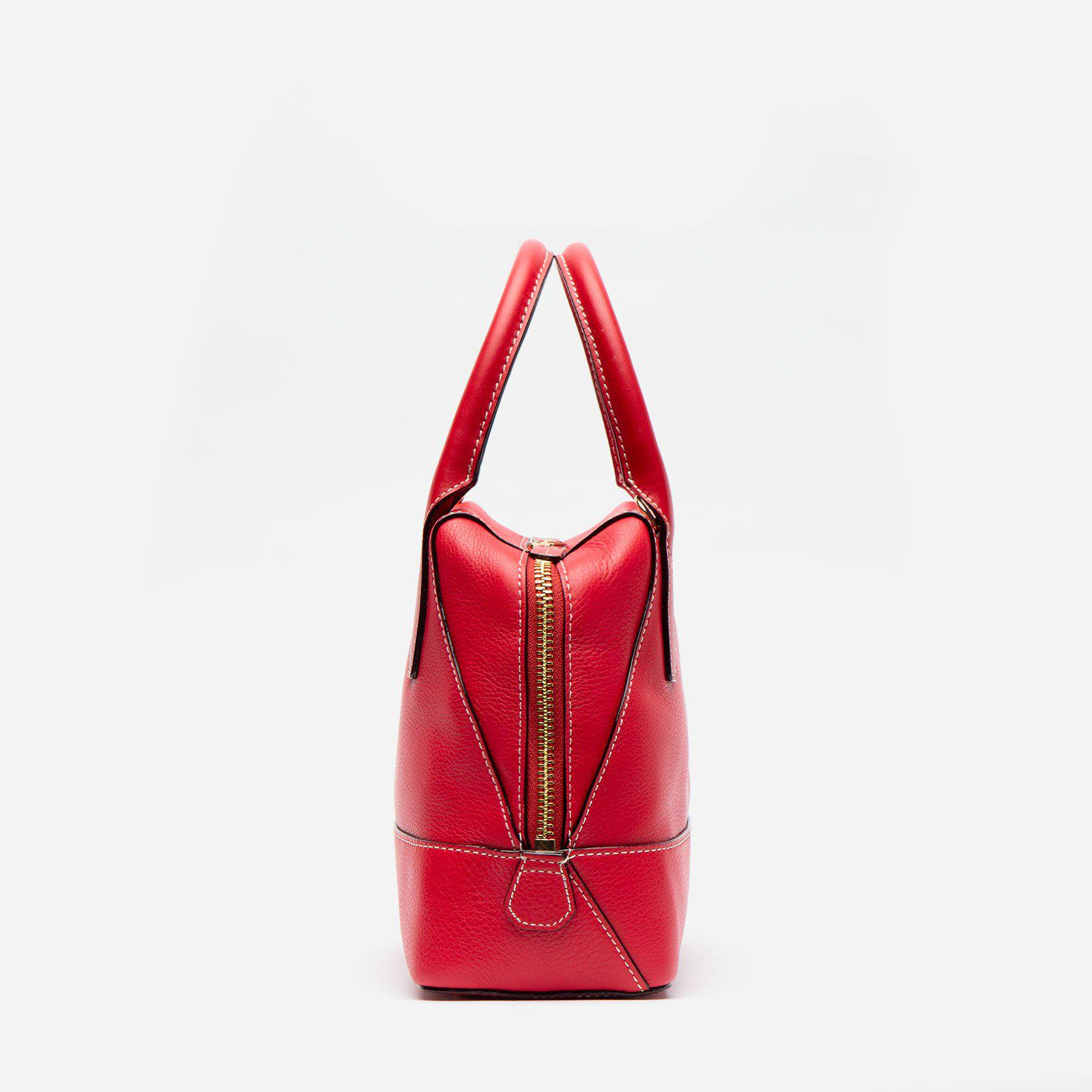 Small Abby Tote Tumbled Leather Red 1