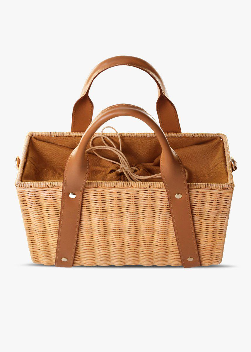 Daisy Leather-Trimmed Wicker Tote 1