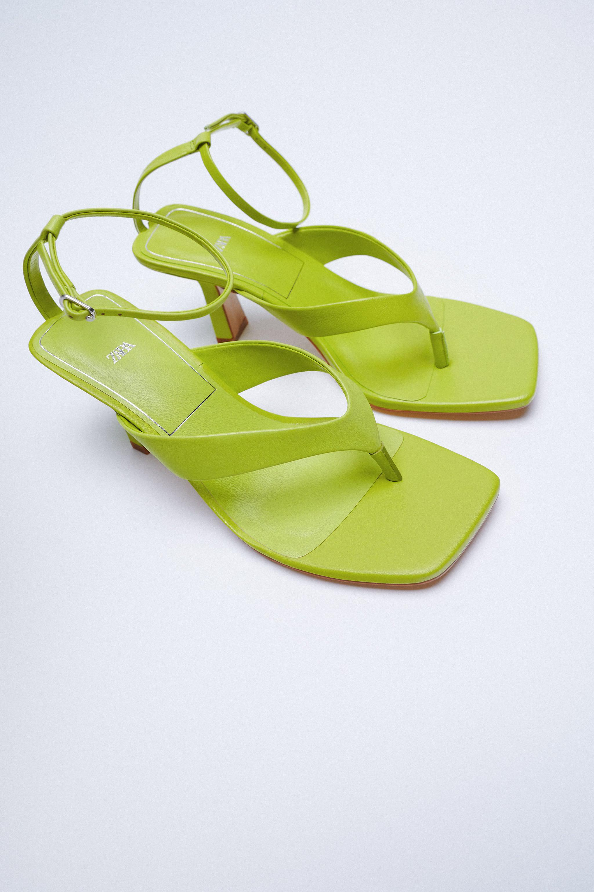 HEELED LEATHER SQUARE TOE SANDALS 7