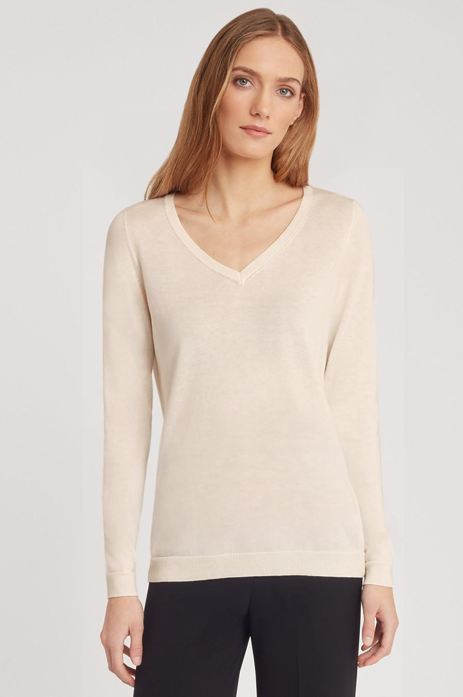 Women's Classic Cotton Cashmere V-Neck Sweater in Sand | Size: 1