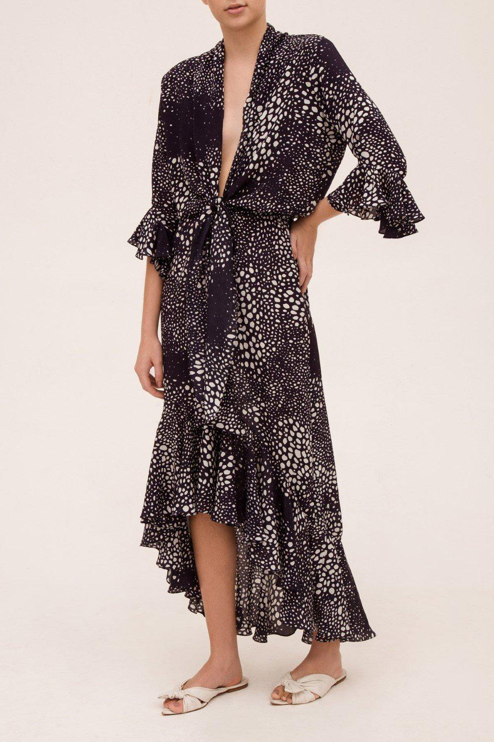 Marine Pois Long Dress With Knot