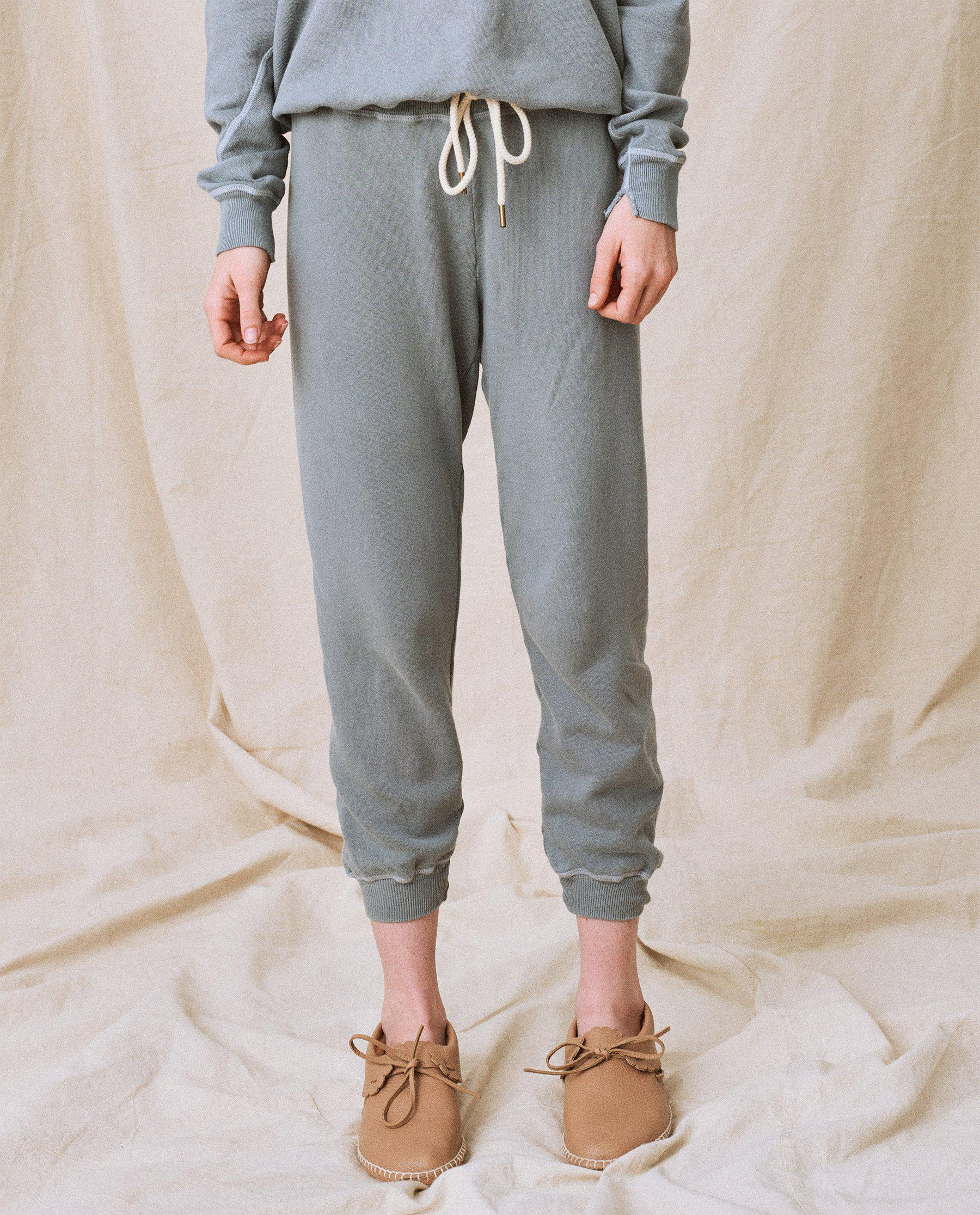 The Cropped Sweatpant. Solid -- Dusty Blue