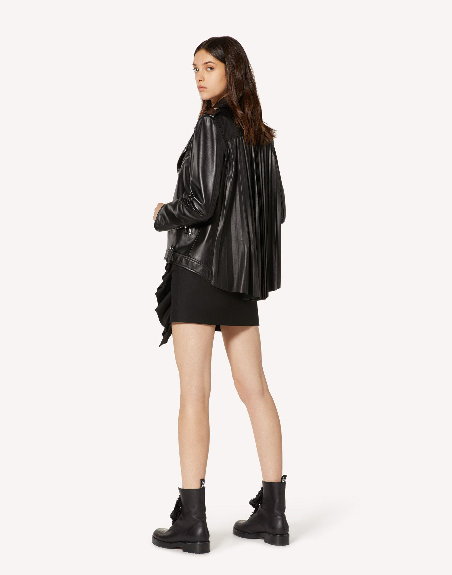 LEATHER BIKER JACKET WITH PLEATED DETAIL 2