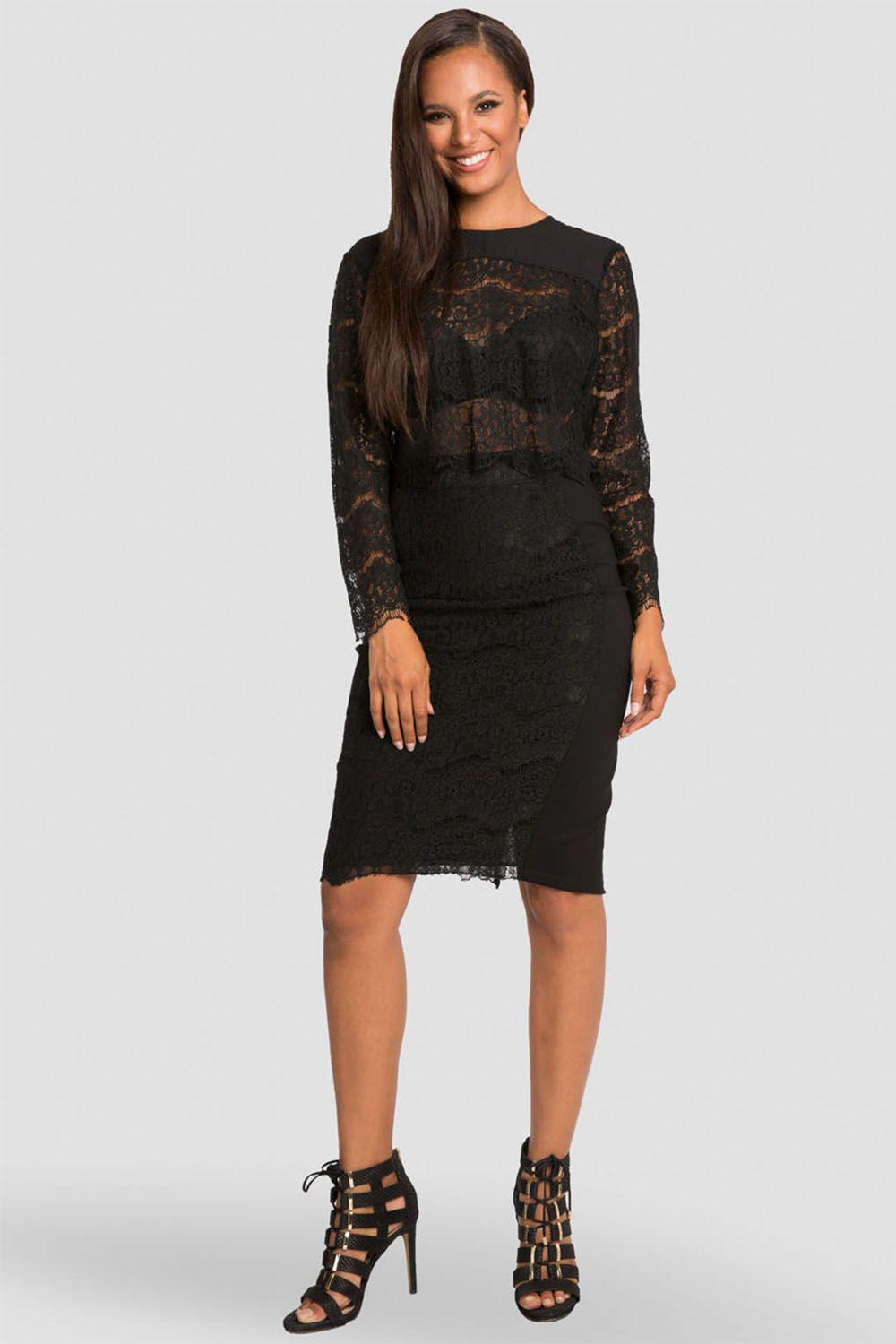 Tori Black Pencil Skirt in Ponte and Lace