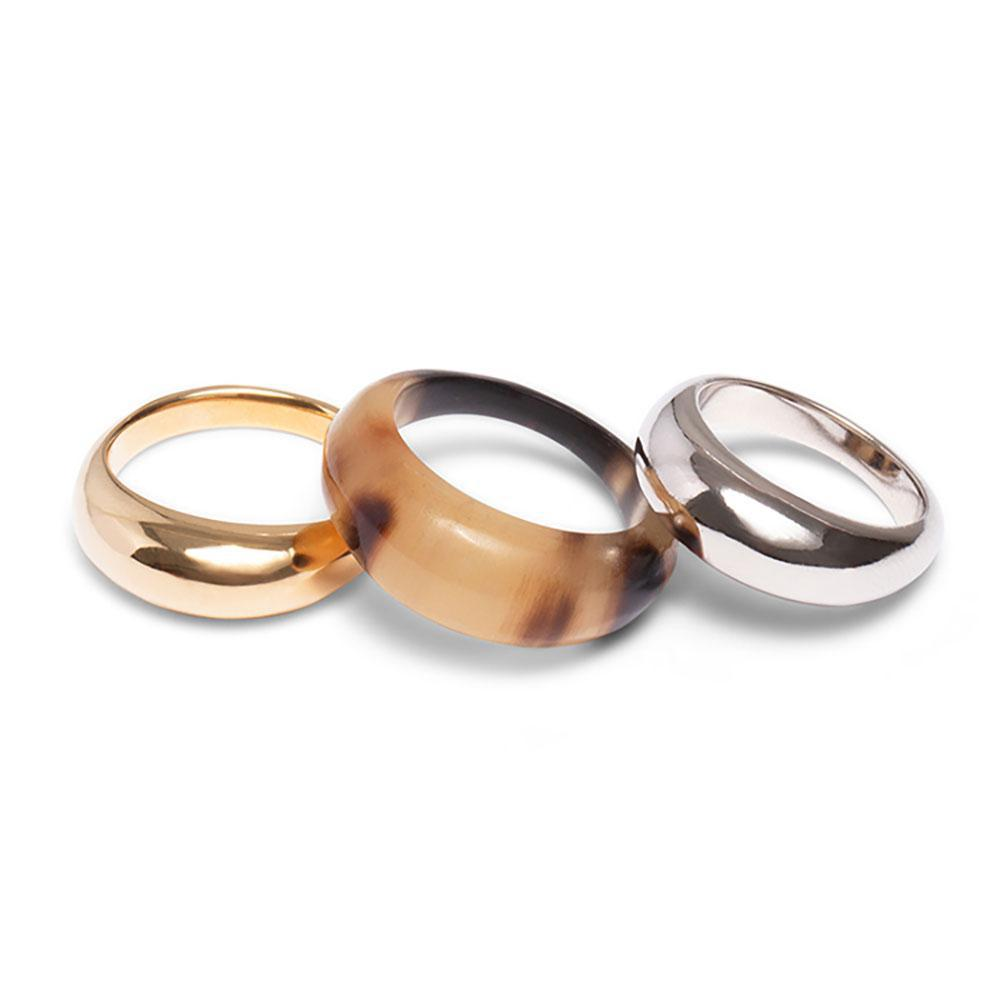 Mixed Metal Fanned Ring Stack