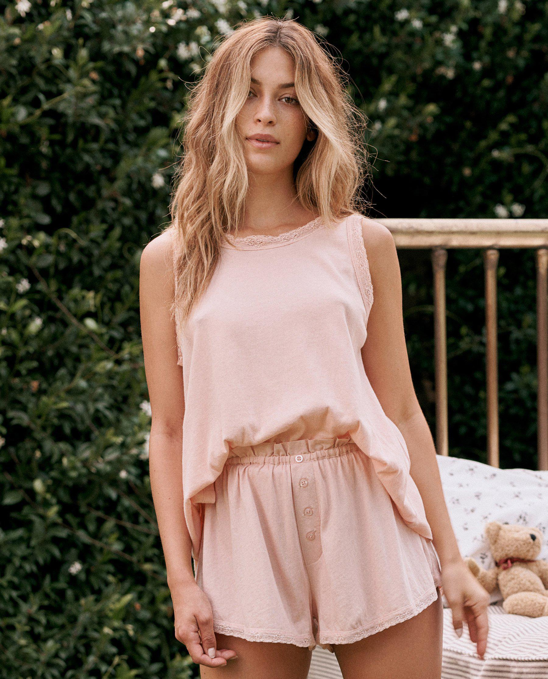 The Lace Slouch Sleep Tank. -- Rose Dust