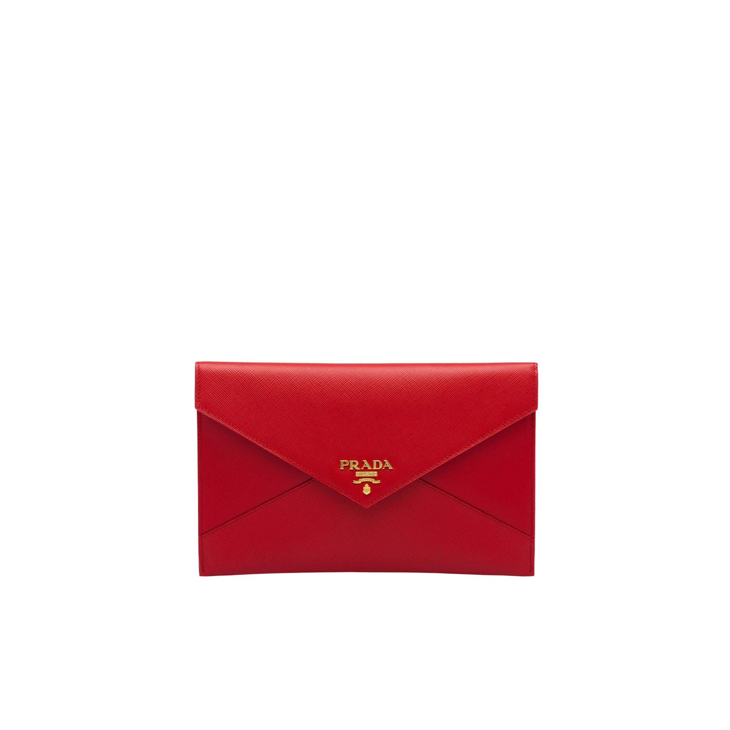 Saffiano Leather And Leather Pouch Wallet Women Fiery Red