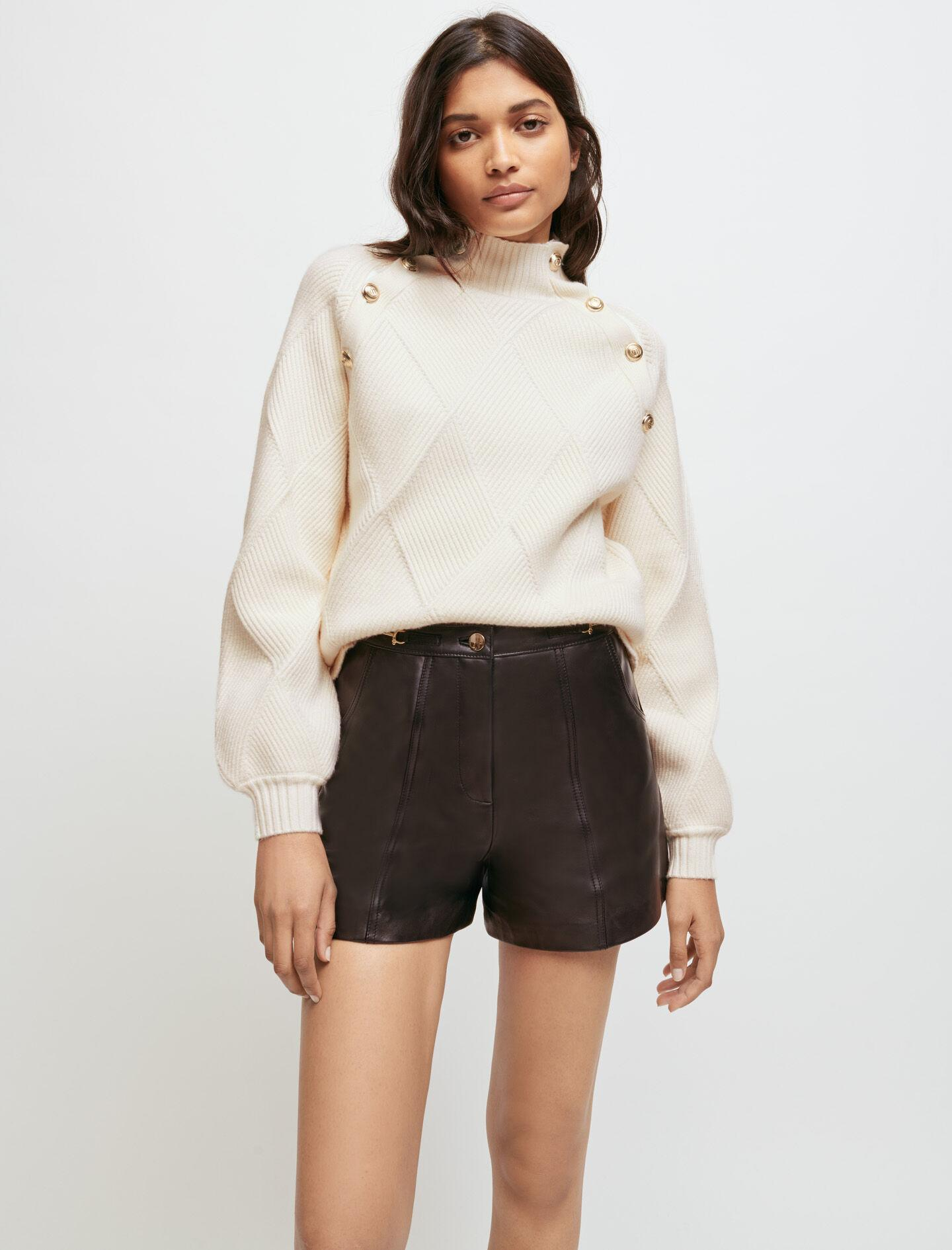 ECRU JACQUARD SWEATER WITH STAND-UP NECK