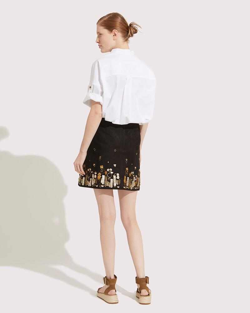 Embroidered leather skirt 1