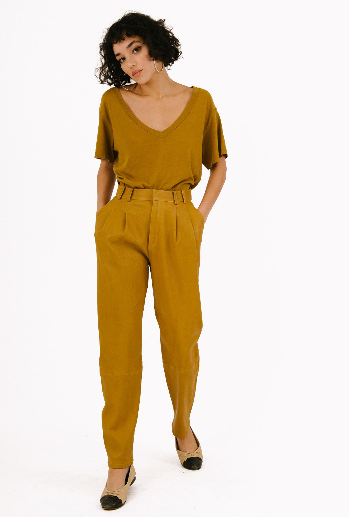 Moss Gold Leather Tailored Trouser