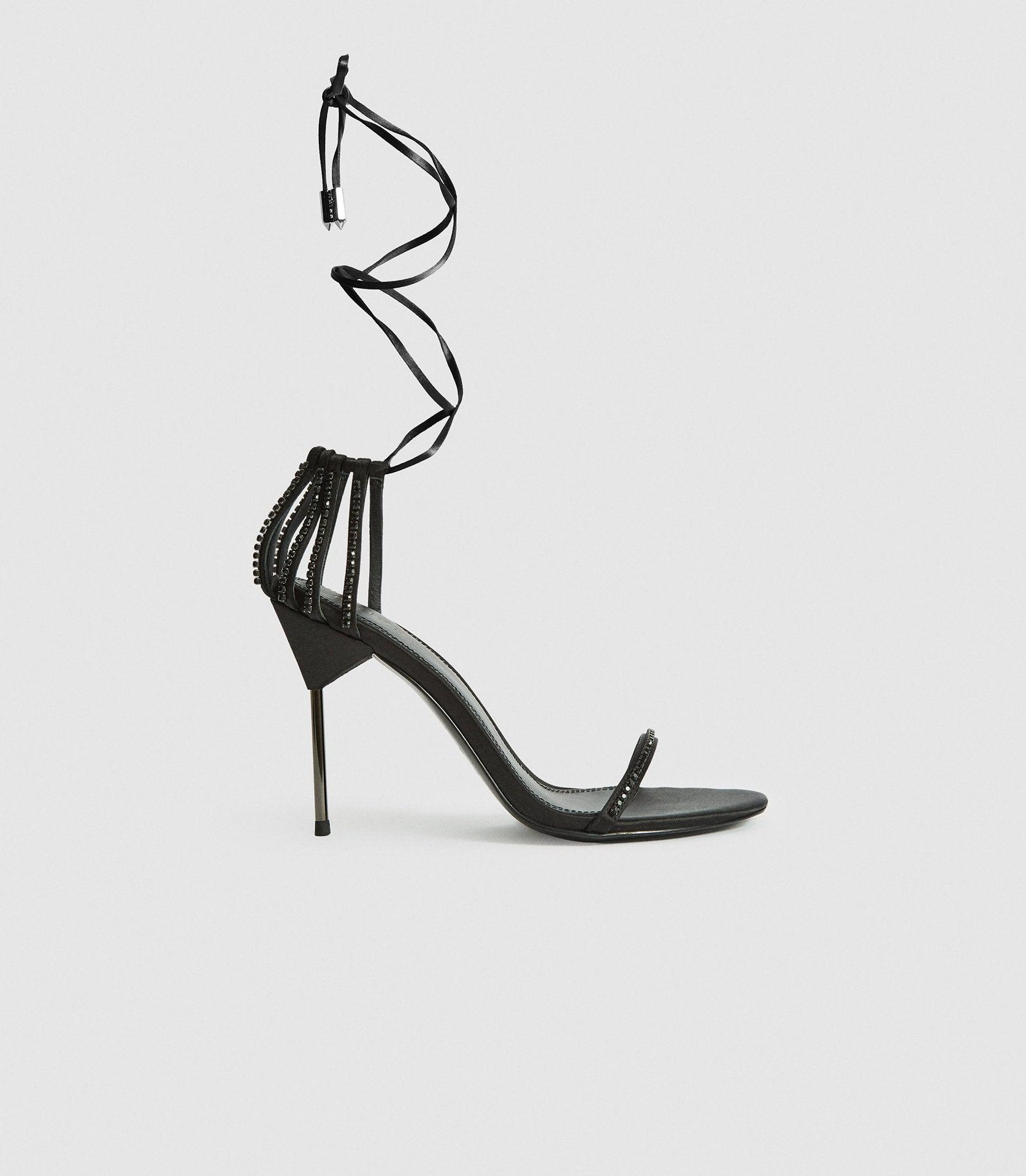 ZHANE CRYSTAL - EMBELLISHED STRAPPY WRAP SANDALS